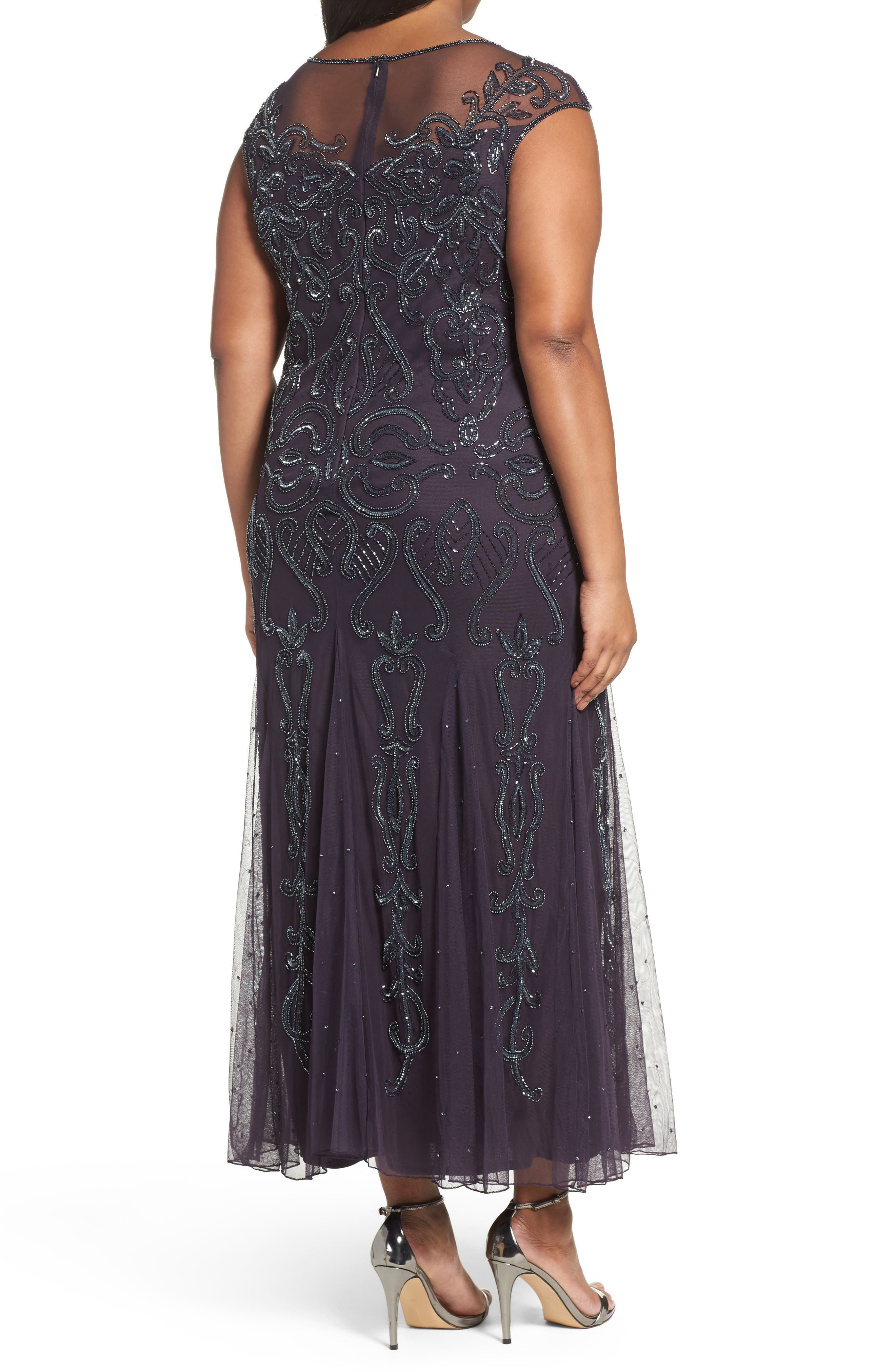 Illusion Neck Beaded A-Line Gown,                             Alternate thumbnail 8, color,