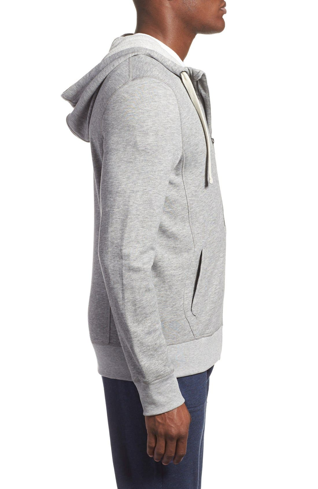 'Terry' Cotton Blend Zip Hoodie,                             Alternate thumbnail 5, color,                             LIGHT GREY HEATHER