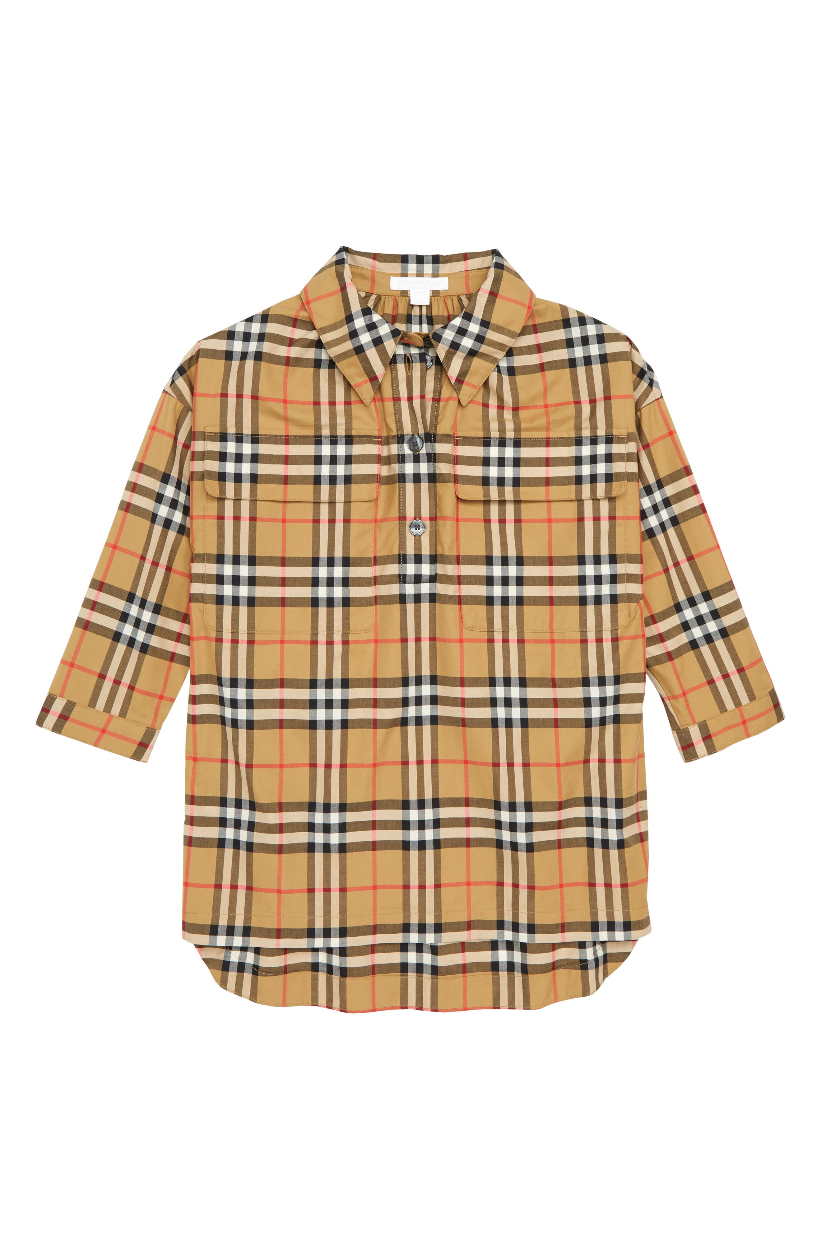 Girls Burberry Maryalice Check Smock Shirt Size 6Y  Yellow