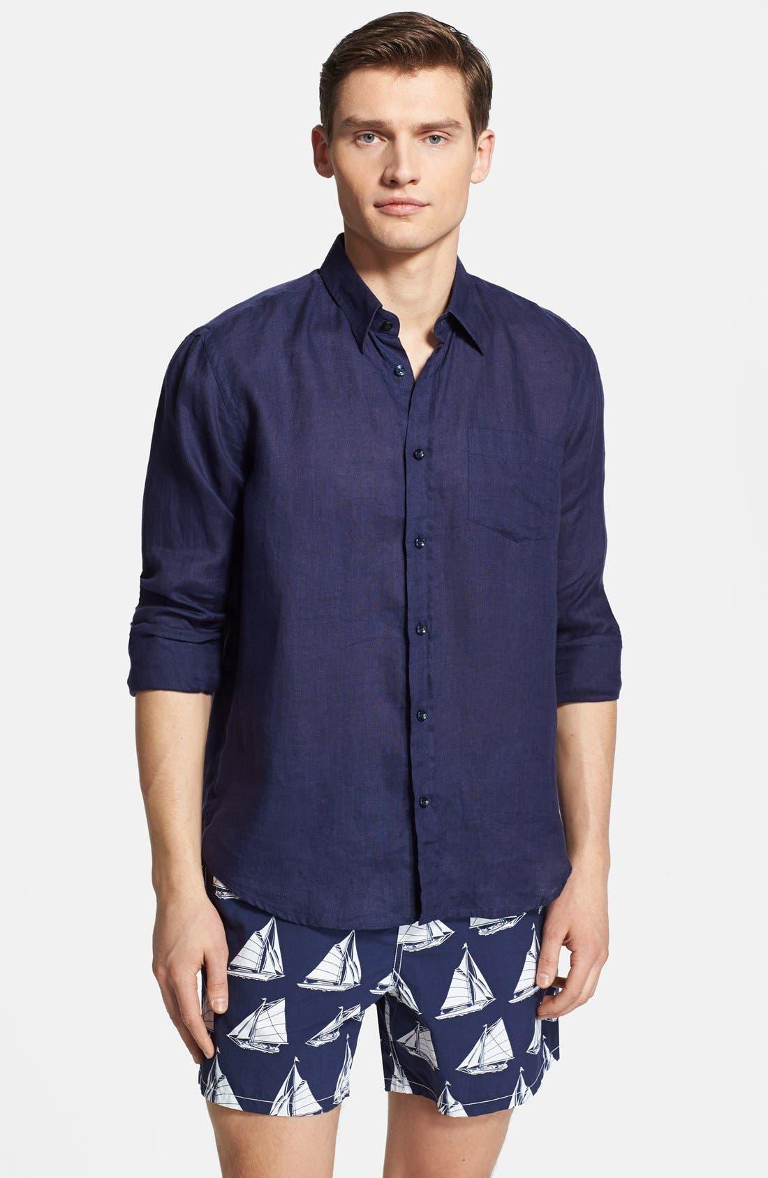 'Caroubier' Linen Shirt,                             Main thumbnail 9, color,