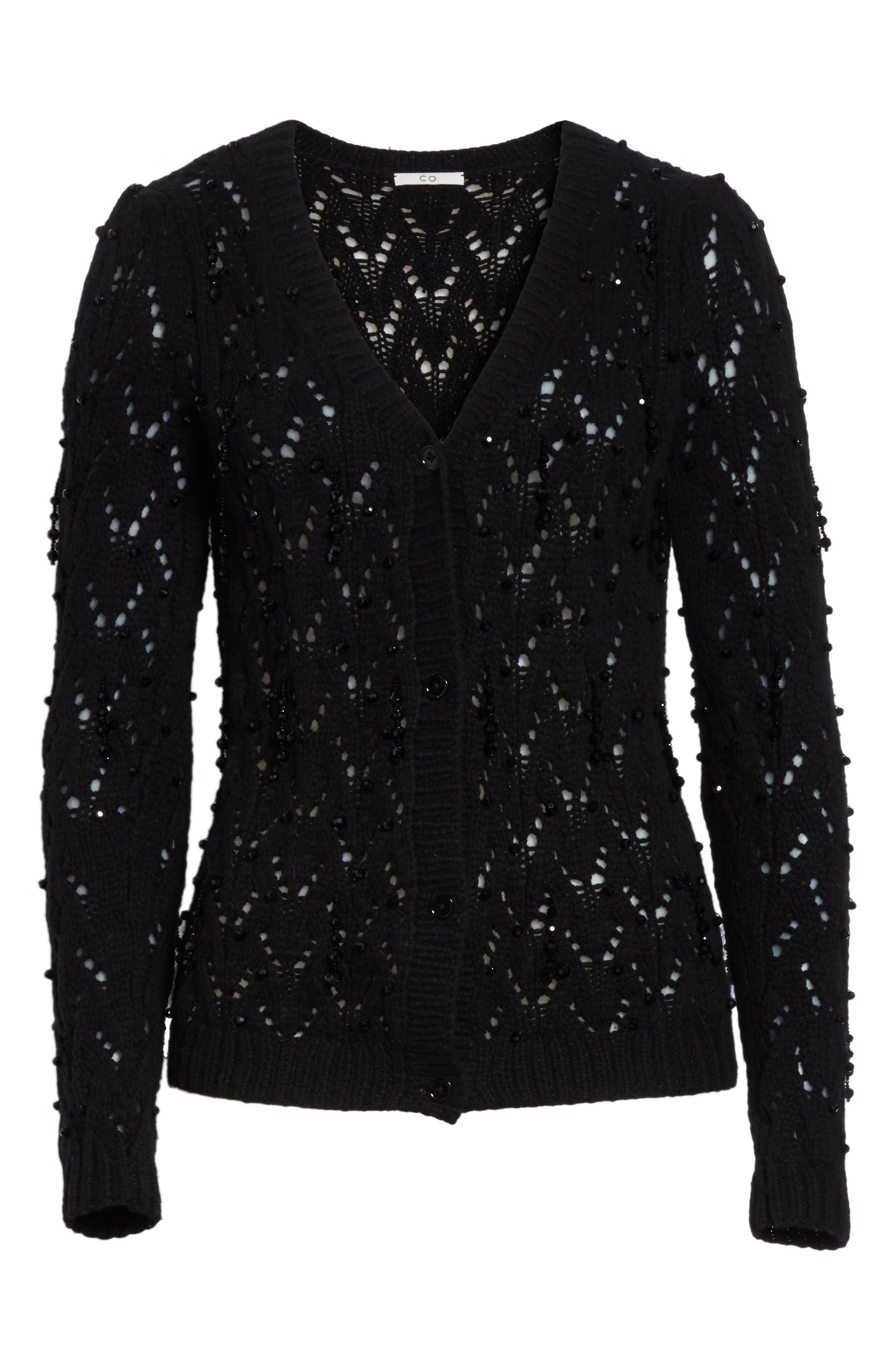 Beaded Wool & Cashmere Cardigan,                             Alternate thumbnail 7, color,                             BLACK