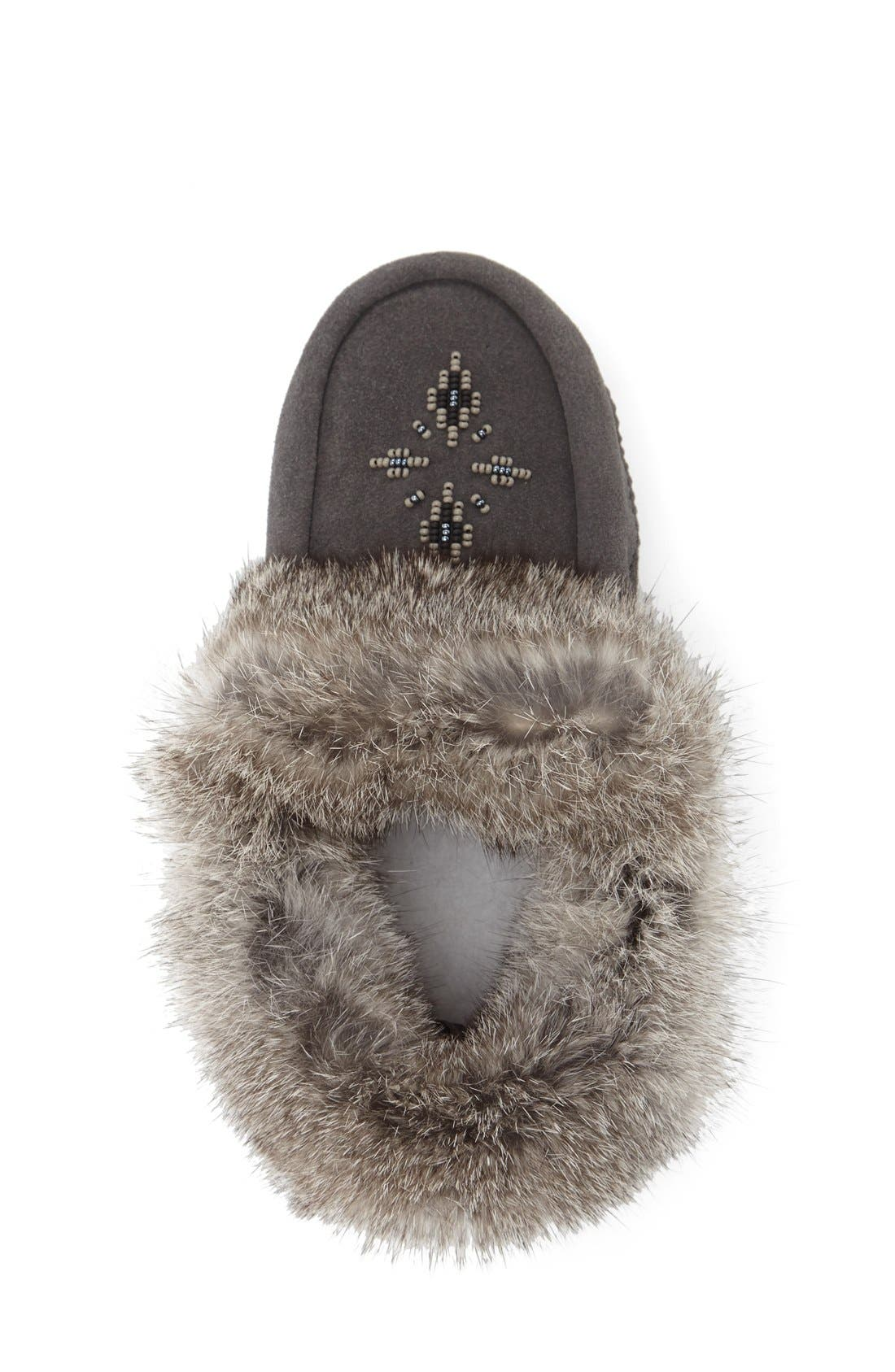 Genuine Rabbit Fur Moccasin,                             Alternate thumbnail 8, color,