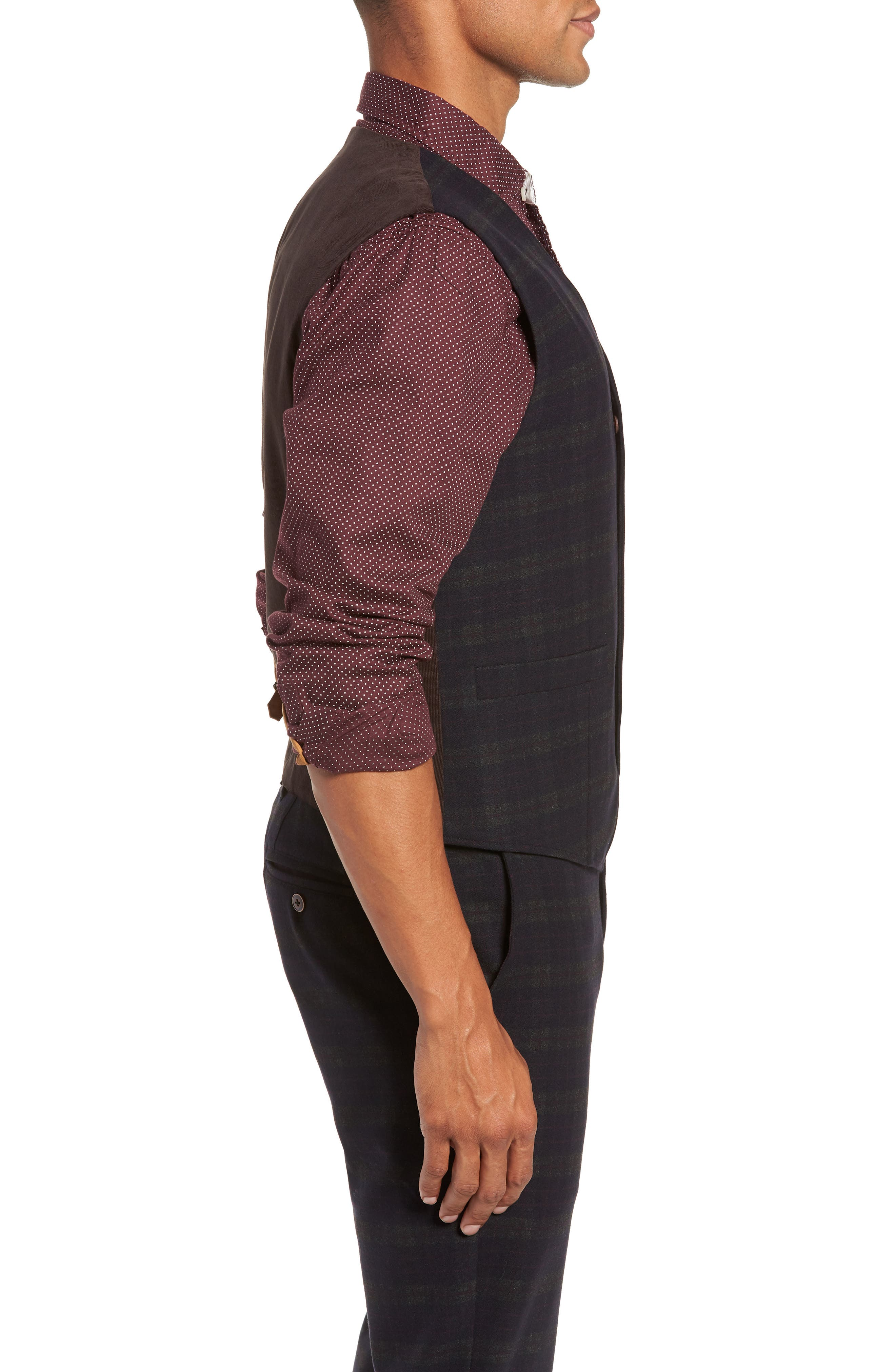 Albert Regular Fit Stretch Vest,                             Alternate thumbnail 3, color,                             MIDNIGHT/ RED/ CHARCOAL