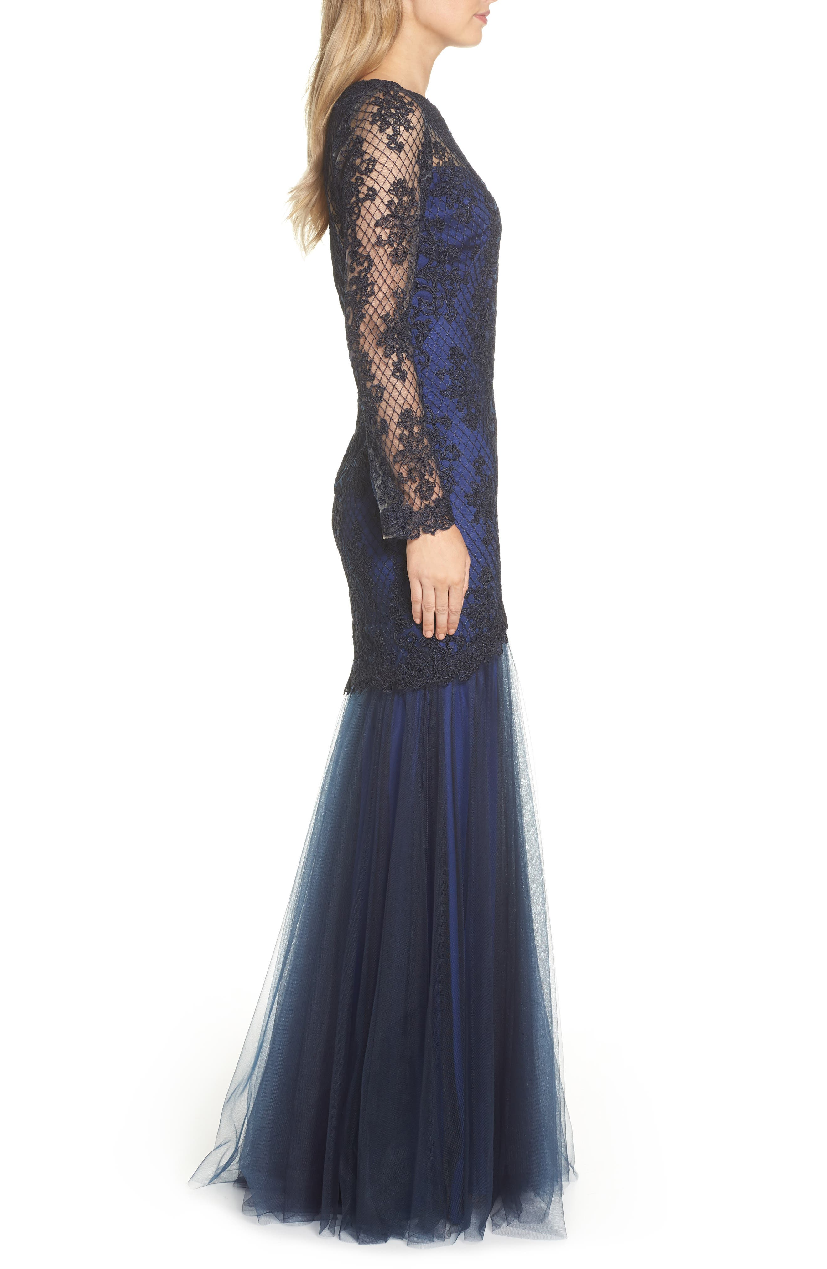 Corded Lace & Tulle Gown,                             Alternate thumbnail 3, color,                             NAVY