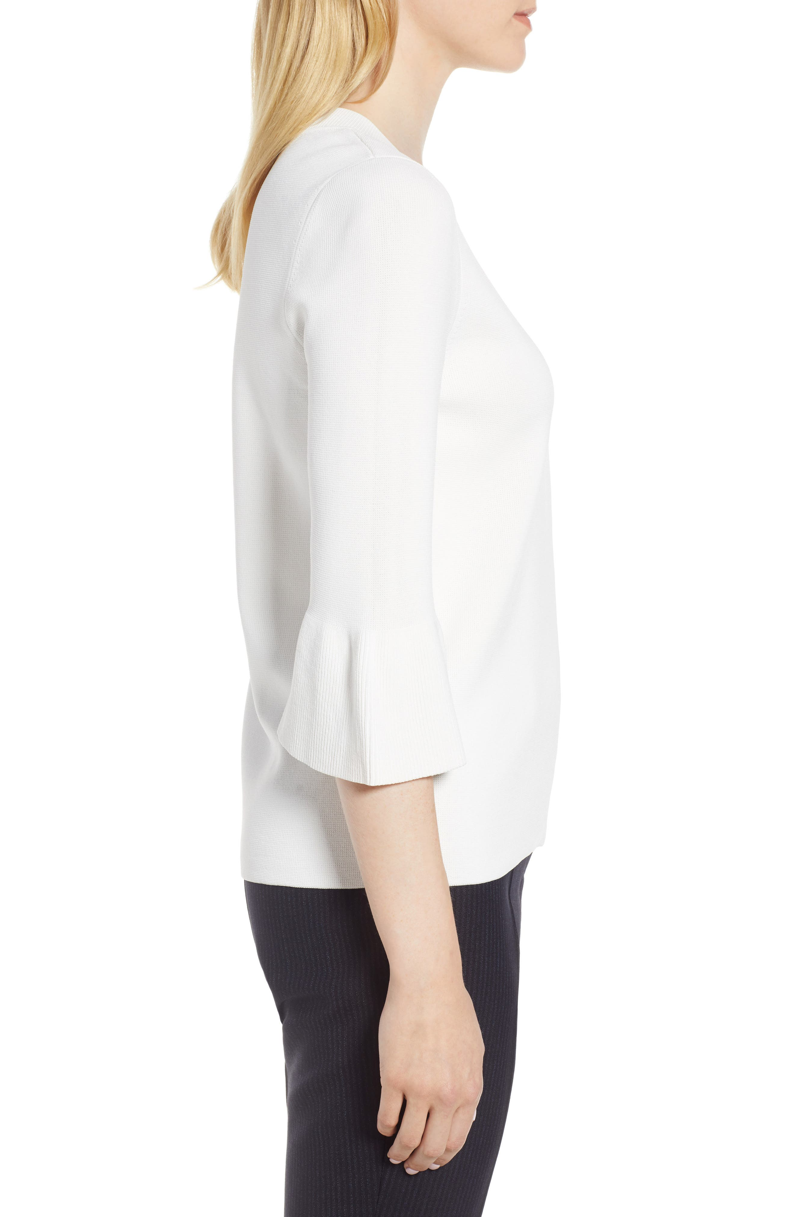 Fenella Tulip Sleeve Top,                             Alternate thumbnail 3, color,                             VANILLA LIGHT