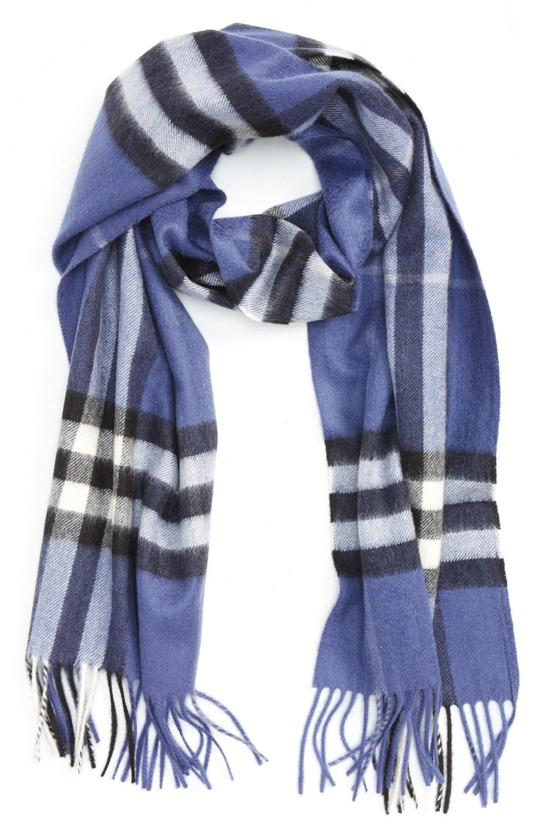 BURBERRY,                             Giant Check Cashmere Scarf,                             Main thumbnail 1, color,                             400