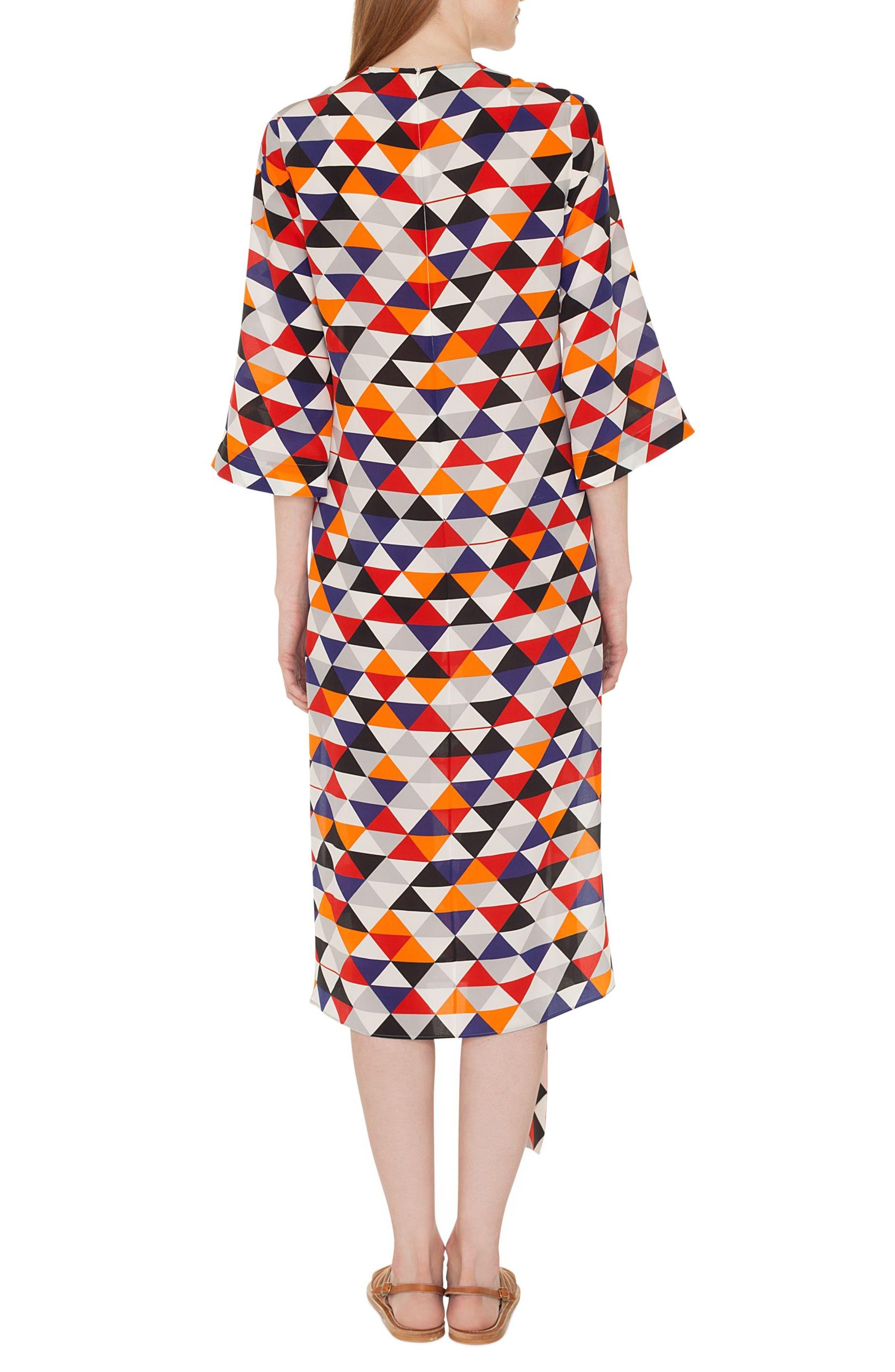 Diamond Print Silk Crepe Dress,                             Alternate thumbnail 2, color,                             MULTICOLOR