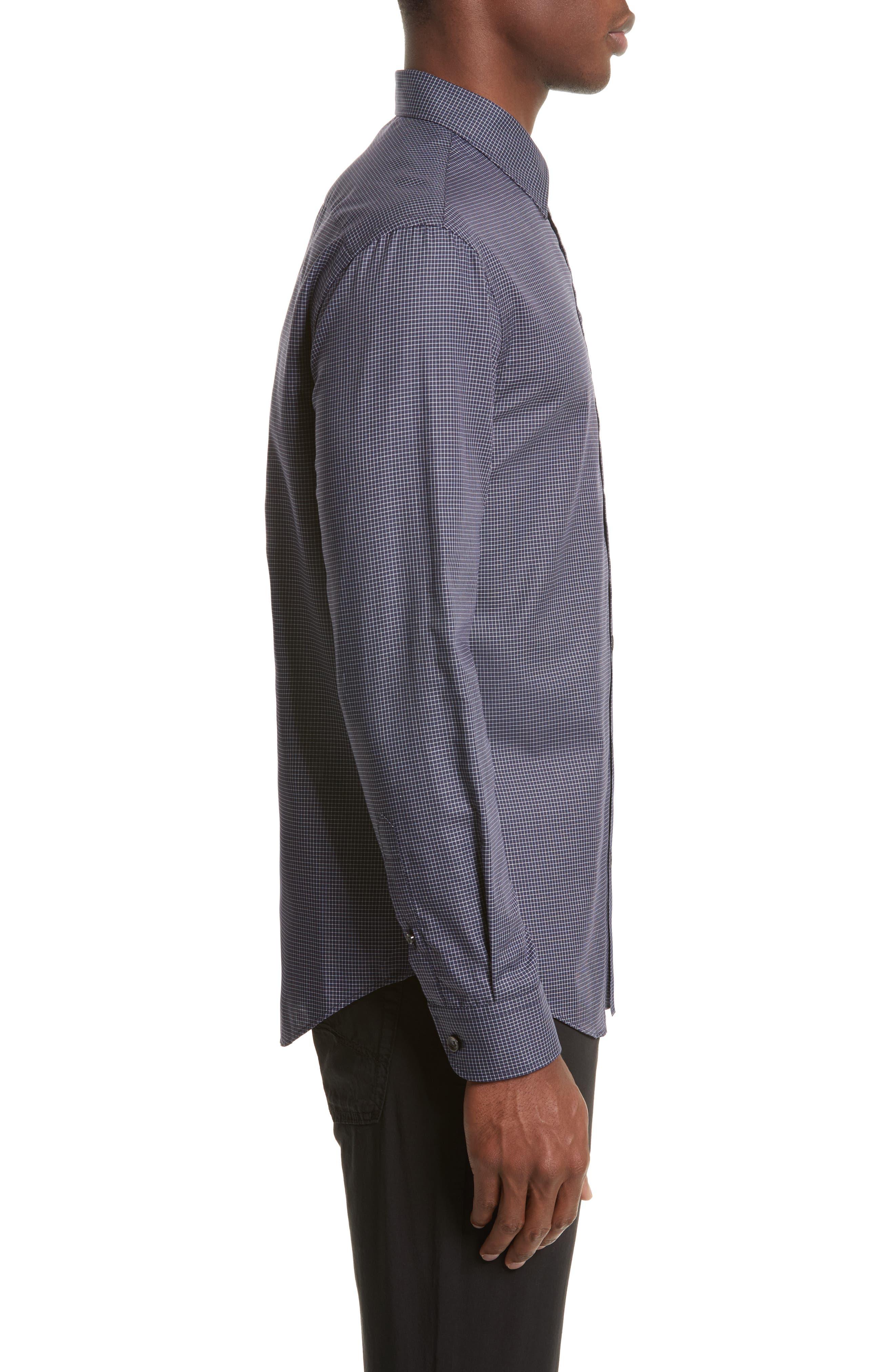 Slim Fit Grid Print Sport Shirt,                             Alternate thumbnail 3, color,                             484