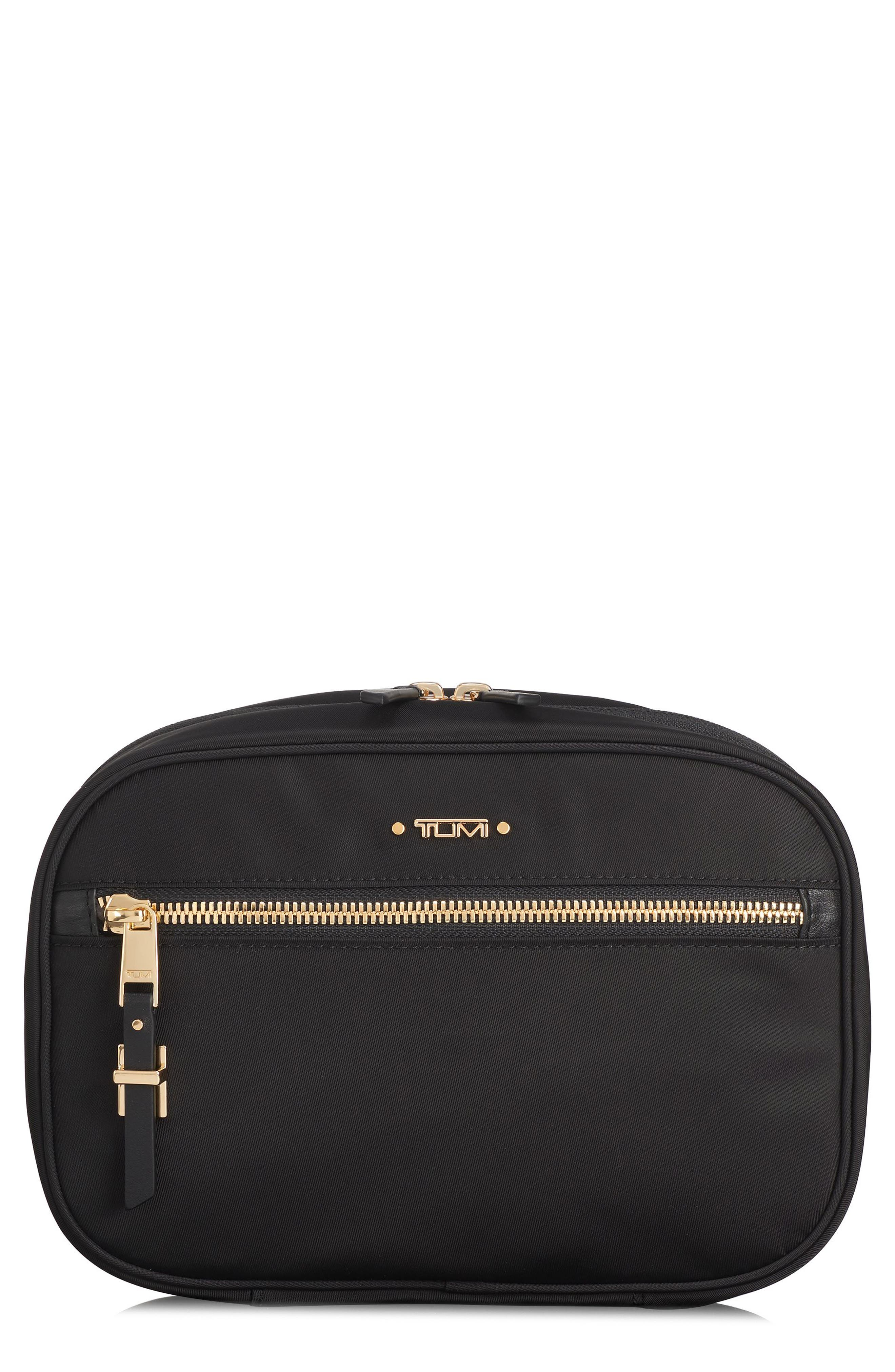 TUMI Voyageur Yima Nylon Cosmetics Case, Main, color, BLACK