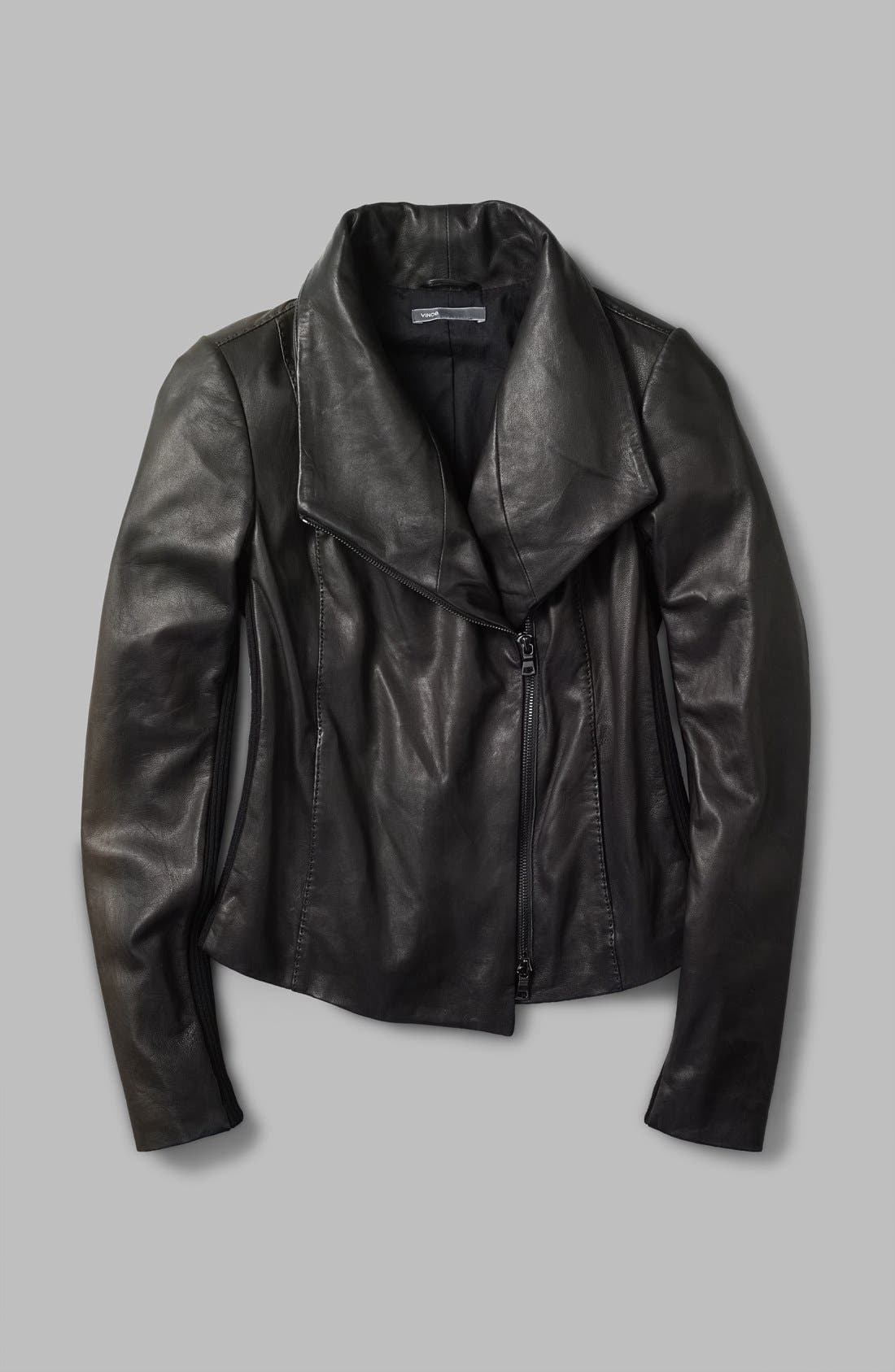 Leather Scuba Jacket,                             Alternate thumbnail 4, color,                             001