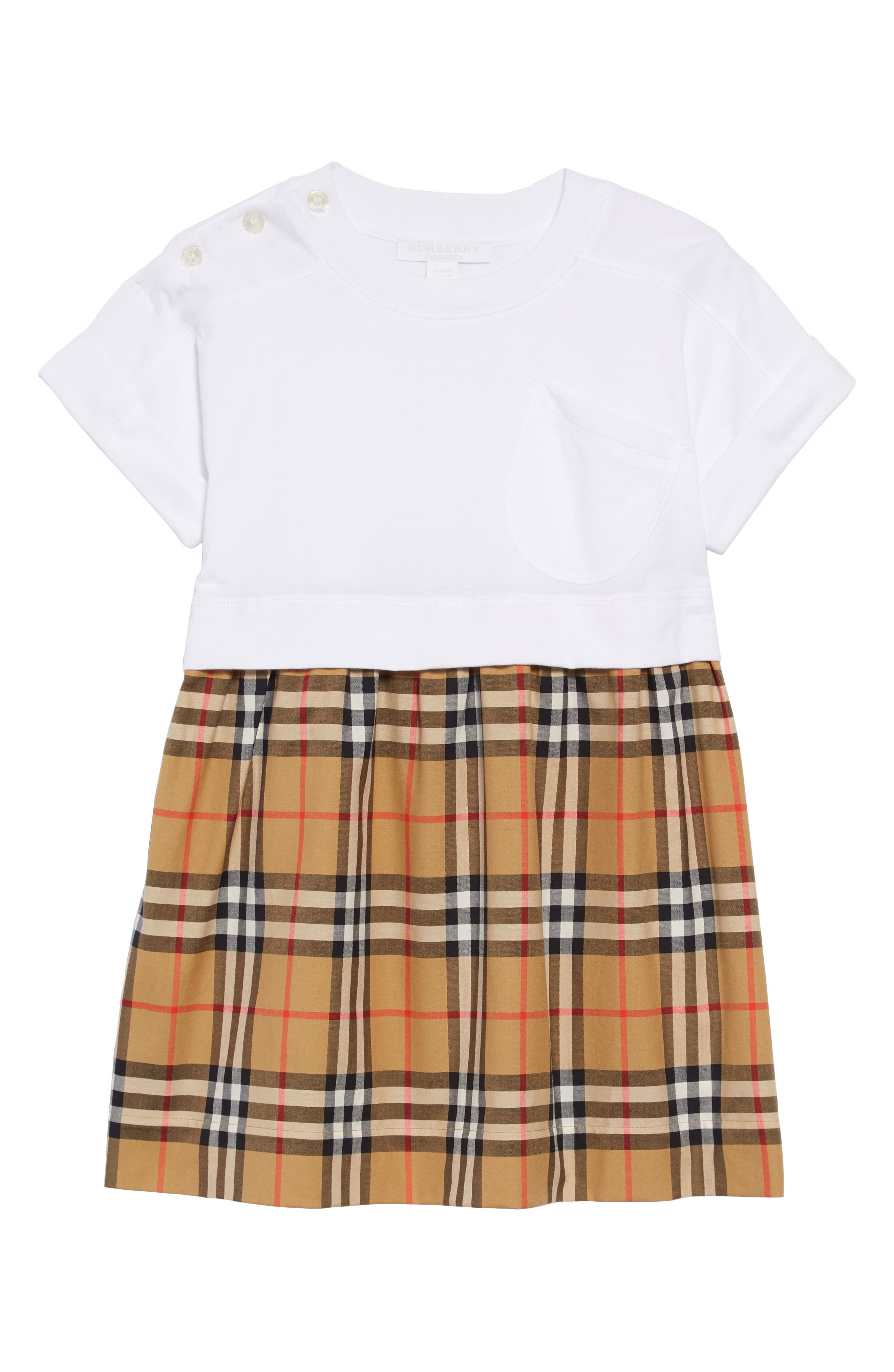 BURBERRY,                             Vintage Check Popover Dress,                             Main thumbnail 1, color,                             WHITE