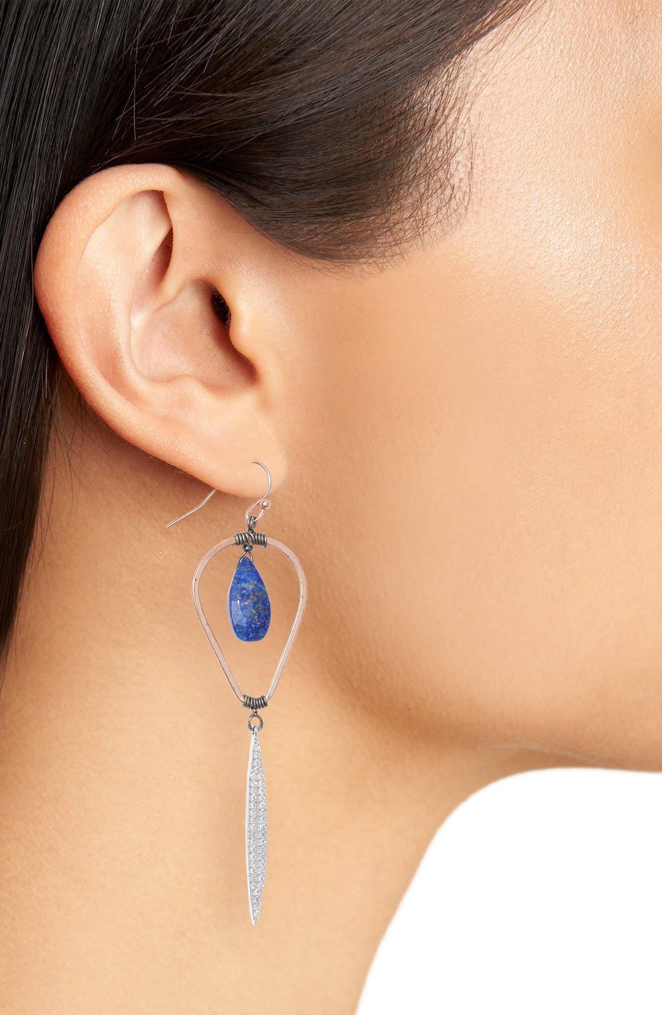Lapis & Crystal Drop Earrings,                             Alternate thumbnail 2, color,                             400