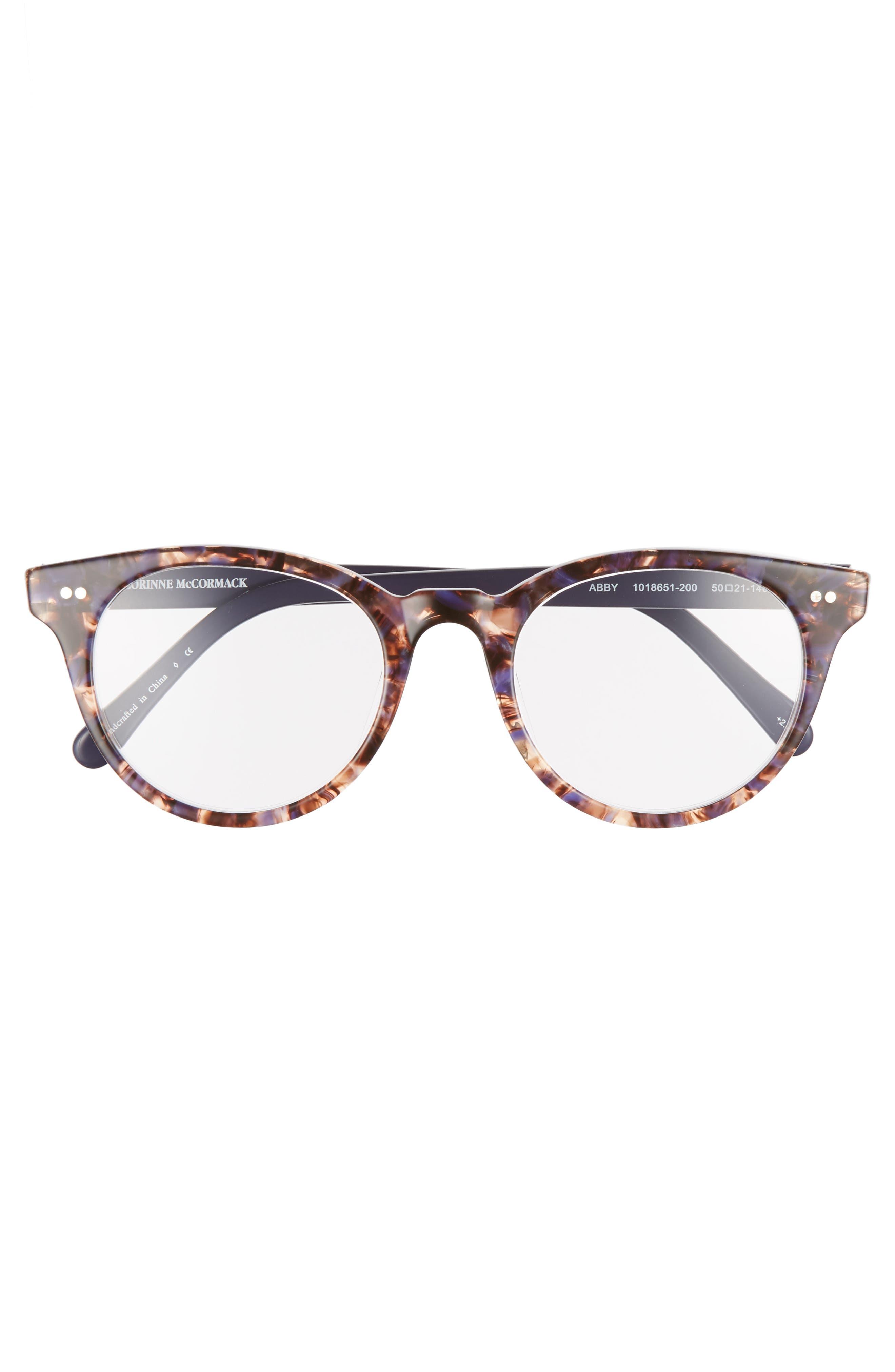 Abby 50mm Reading Glasses,                             Alternate thumbnail 3, color,                             TORTOISE/ NAVY BLUE