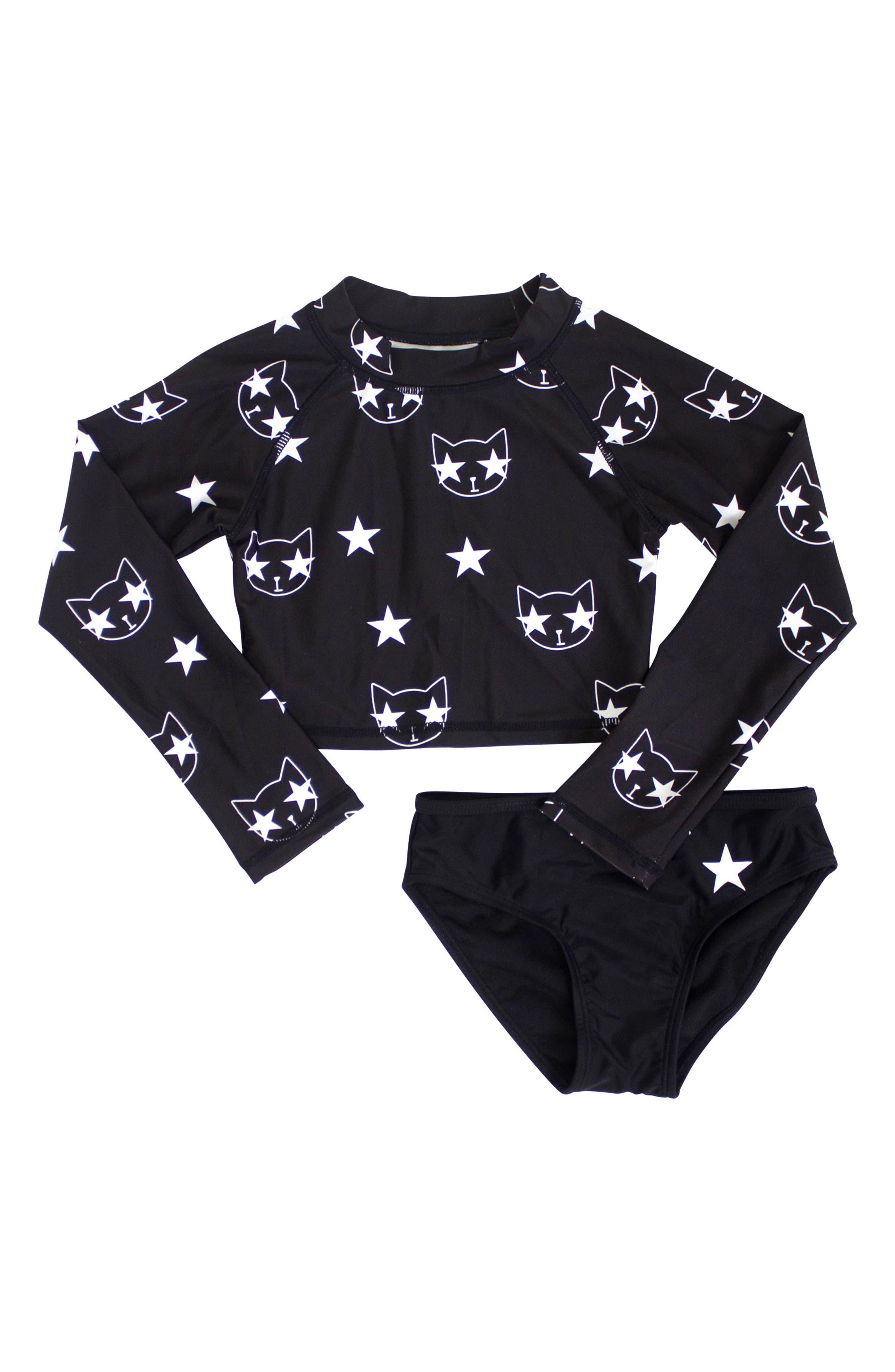 Starcat Two-Piece Rashguard Swimsuit,                         Main,                         color, 001
