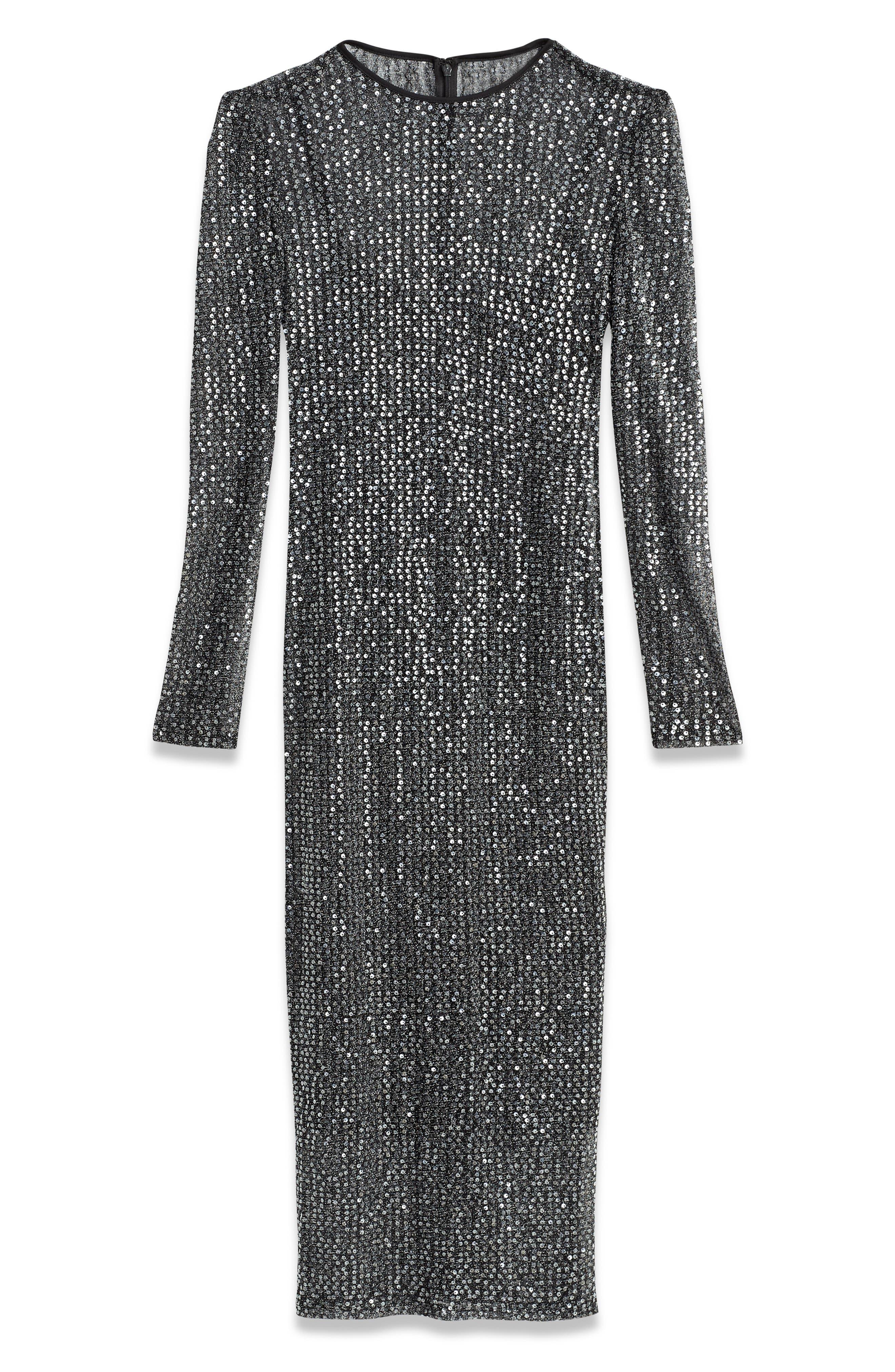 Sequin Midi Dress,                             Alternate thumbnail 3, color,                             BLACK