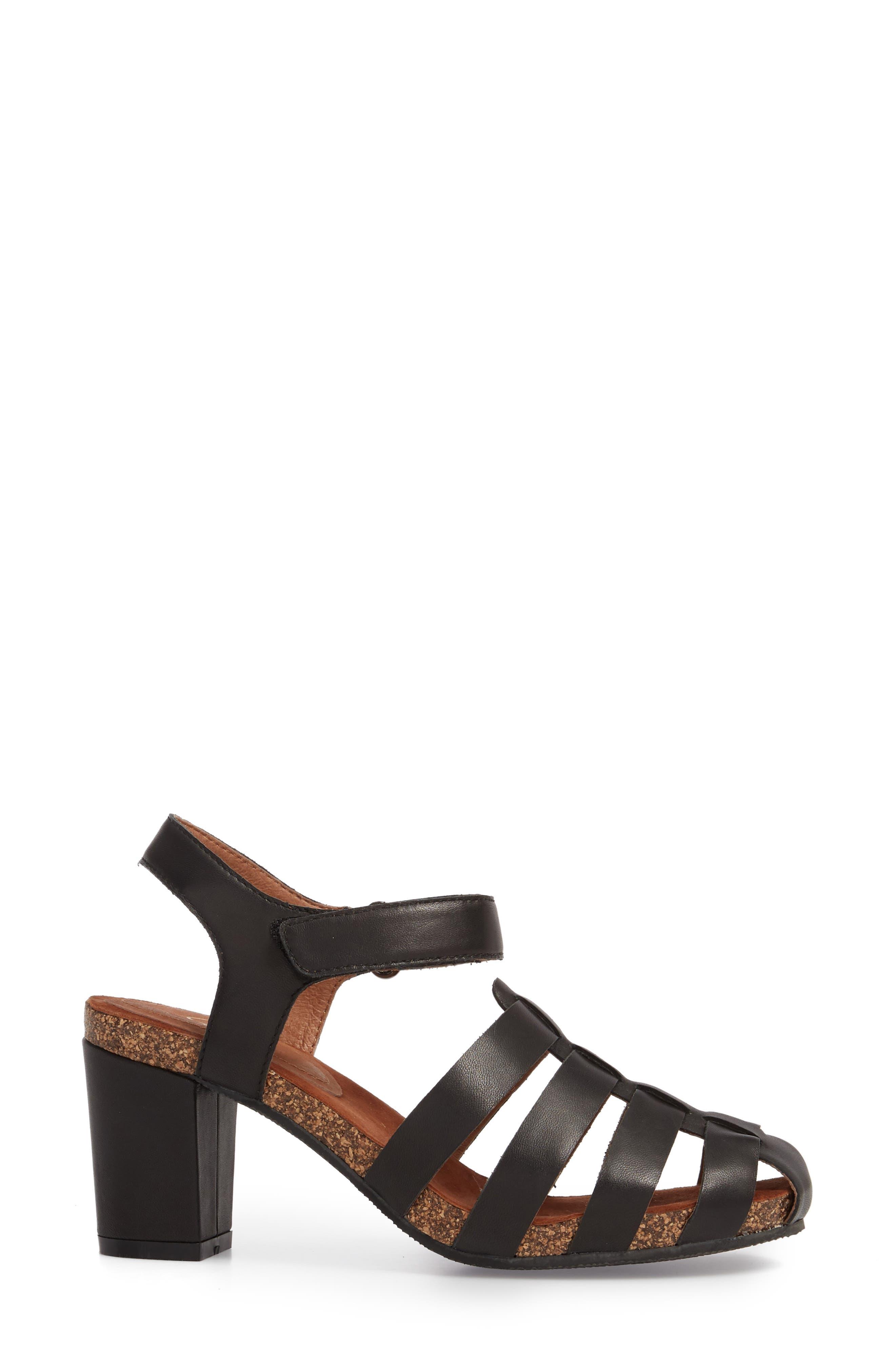 Carrara Block Heel Sandal,                             Alternate thumbnail 3, color,                             BLACK LEATHER
