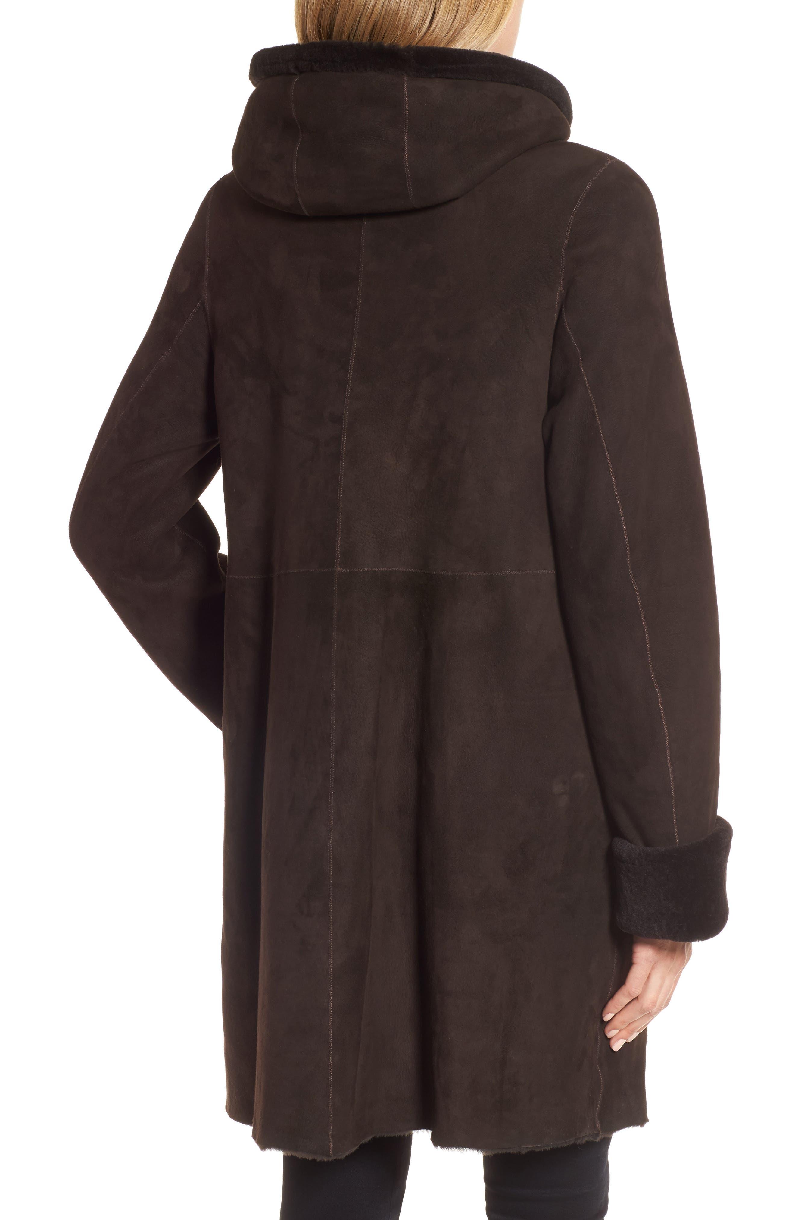 Hooded Genuine Shearling Coat,                             Alternate thumbnail 2, color,