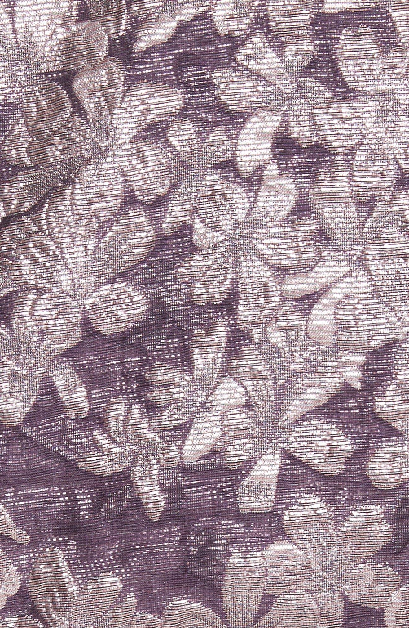 Metallic Floral Jacquard Dress,                             Alternate thumbnail 5, color,                             560