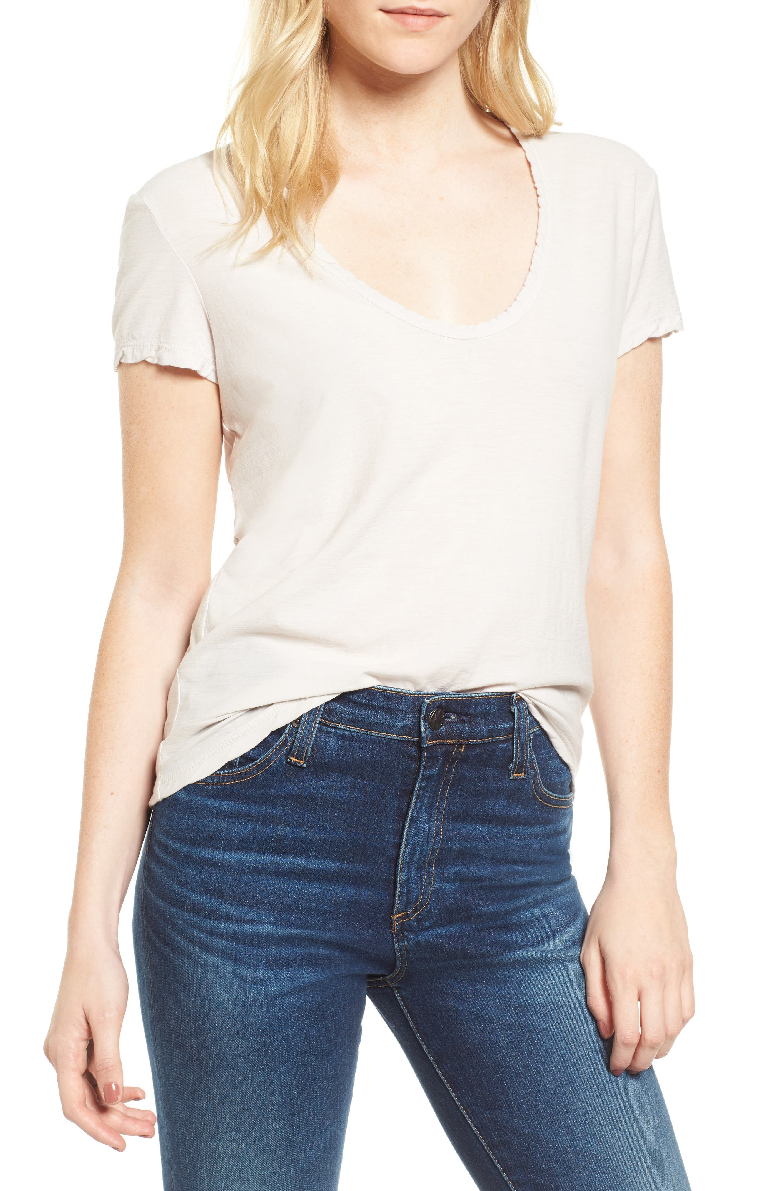 Deep V-Neck Tee,                             Main thumbnail 2, color,