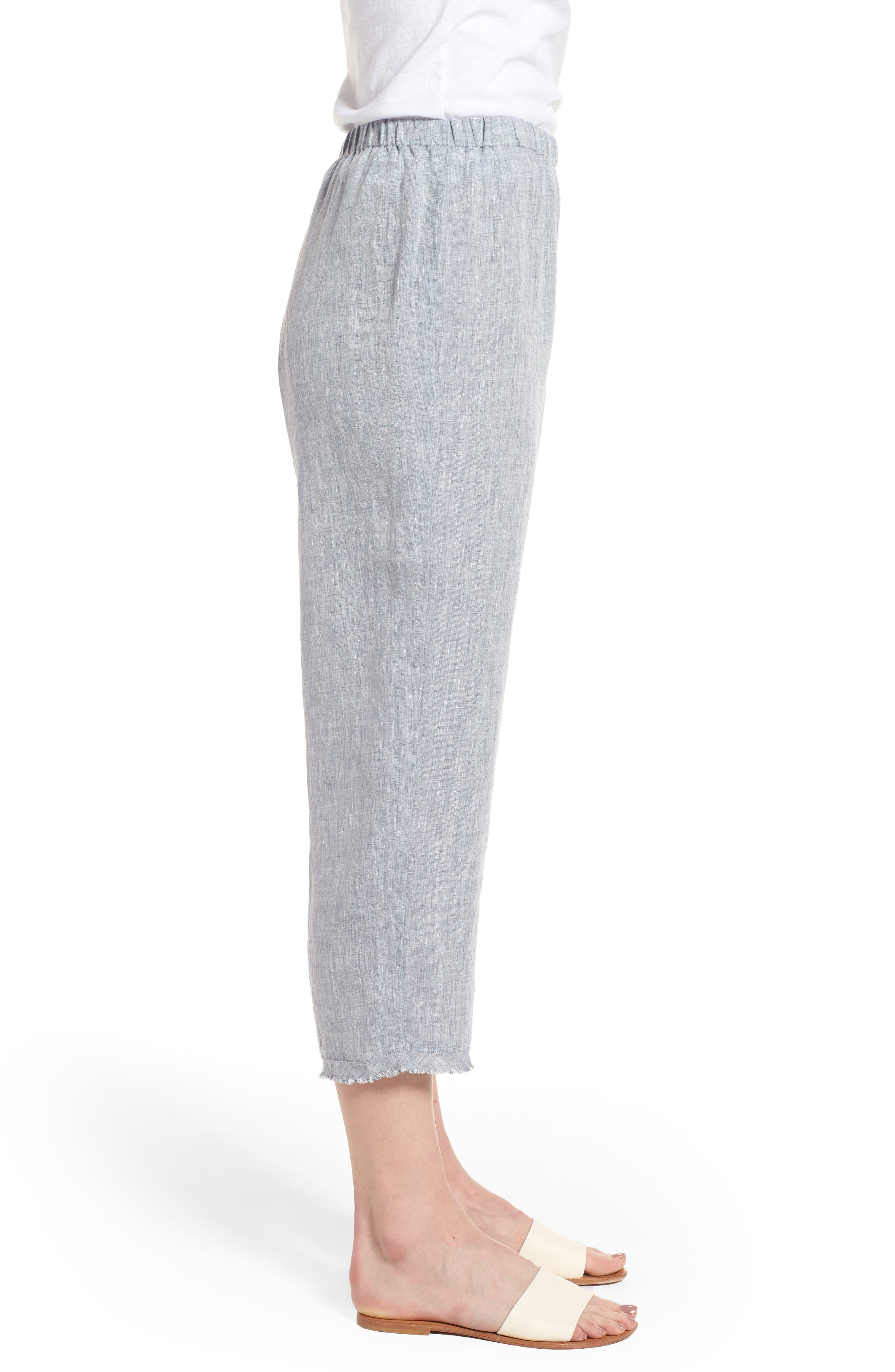 Crop Straight Leg Linen Pants,                             Alternate thumbnail 7, color,