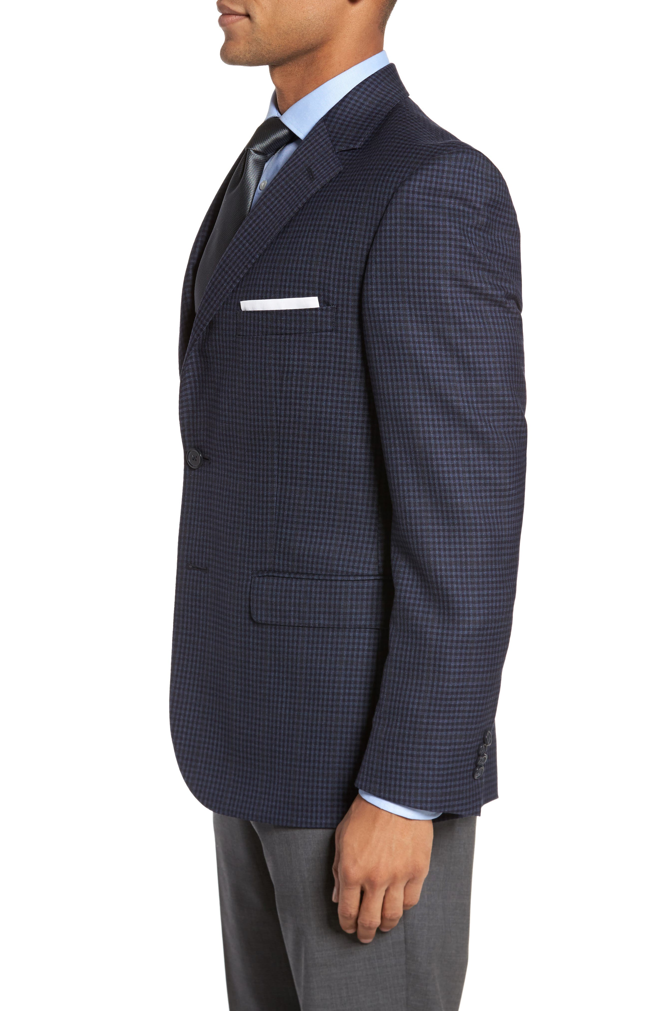 Classic Fit Check Wool Sport Coat,                             Alternate thumbnail 3, color,