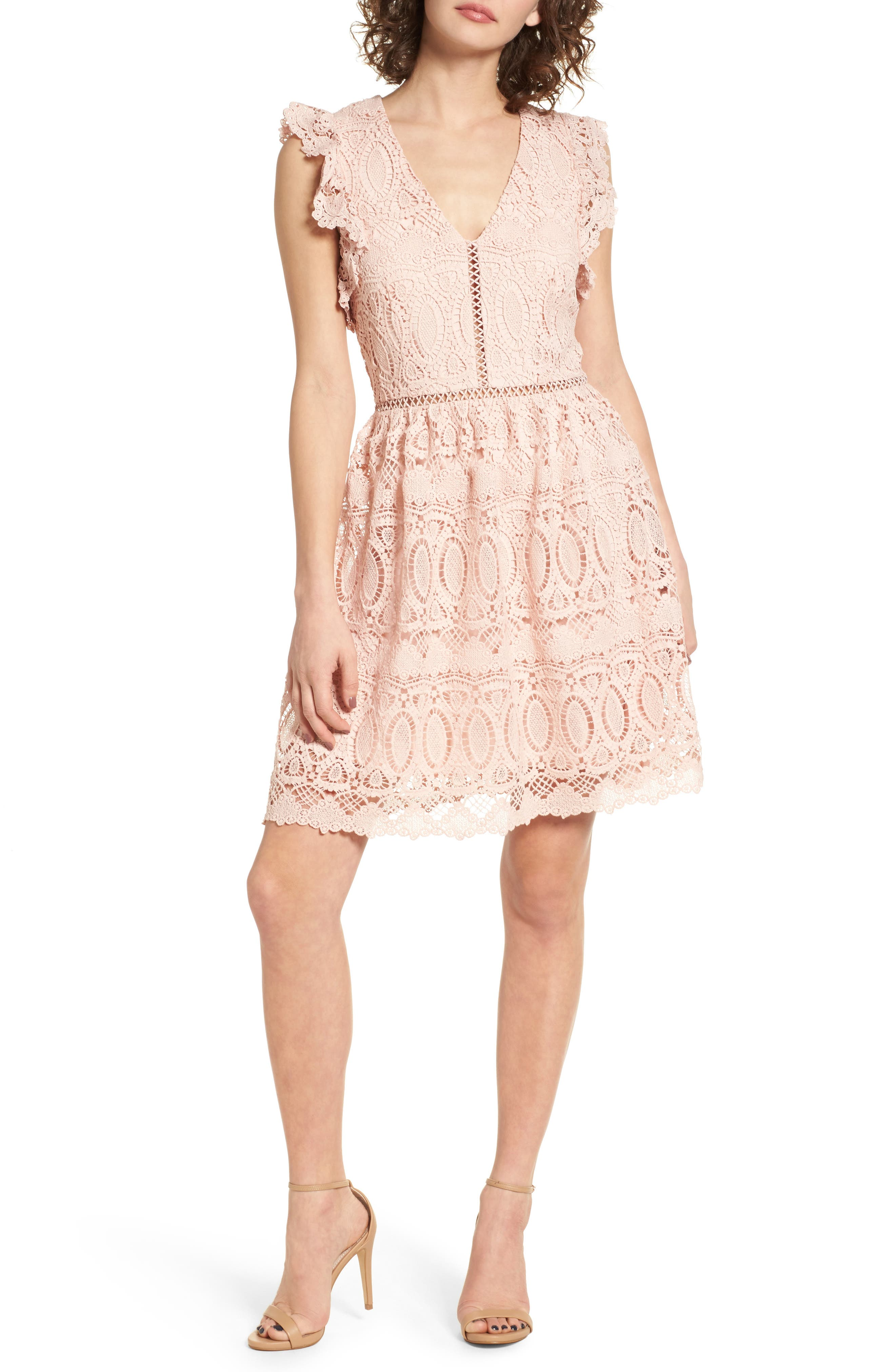 Lace Fit & Flare Dress,                         Main,                         color, 650