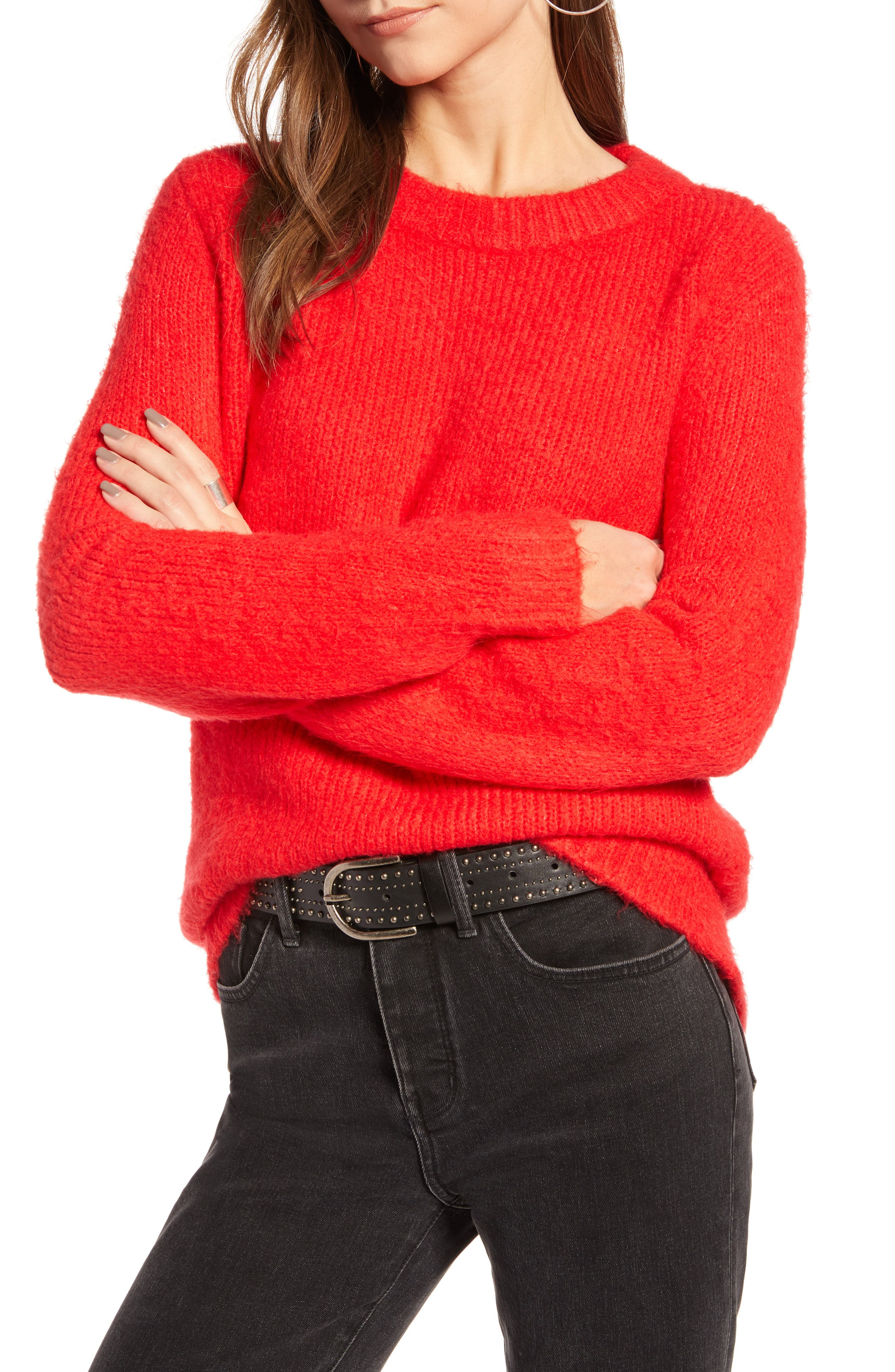 Crewneck Sweater,                             Main thumbnail 1, color,                             RED CHINOISE
