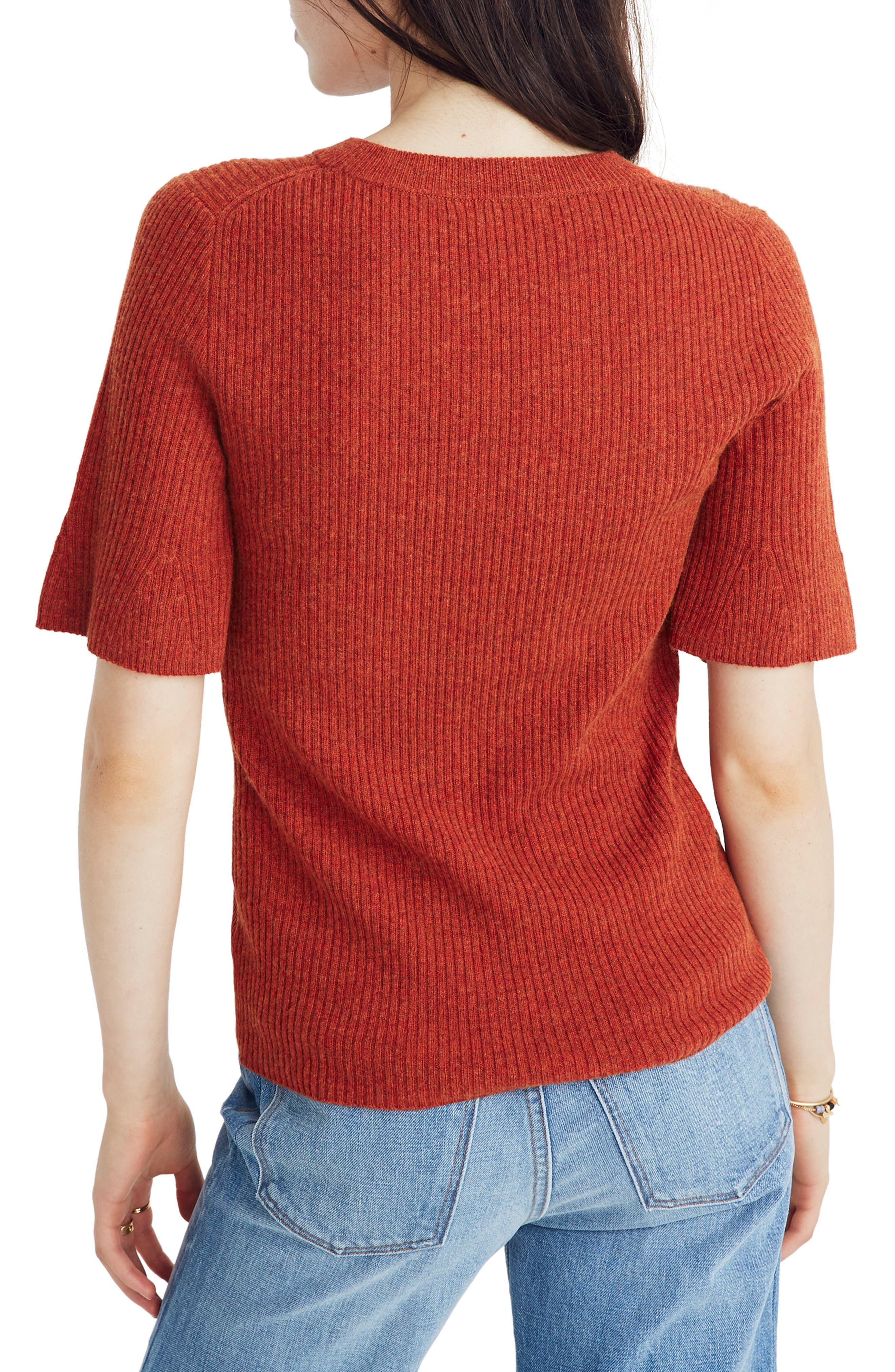 Flounce Sleeve Ribbed Sweater Tee,                             Alternate thumbnail 2, color,                             HEATHER PUMPKIN