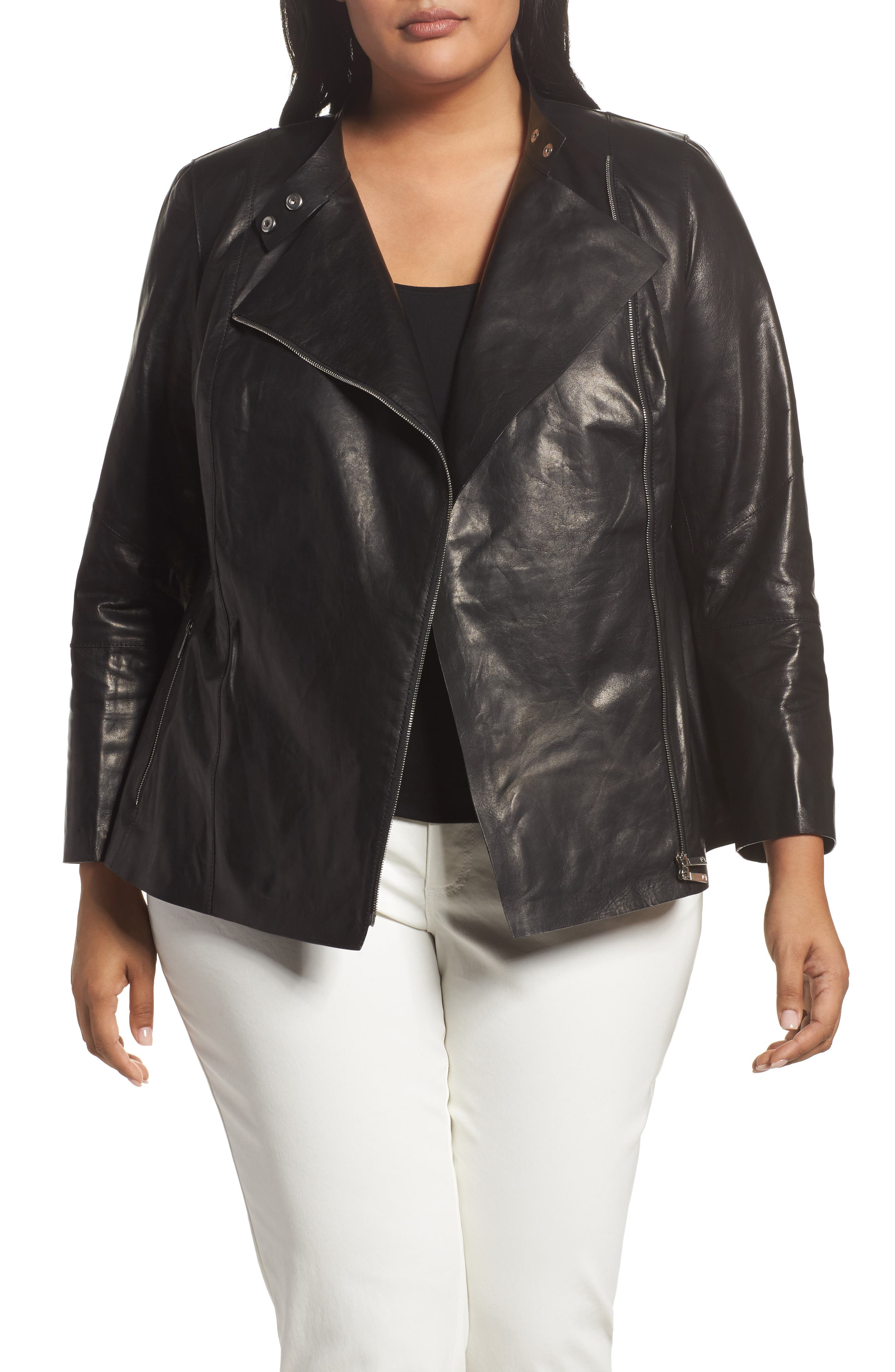 Presley Moto Leather Jacket,                             Main thumbnail 1, color,                             001