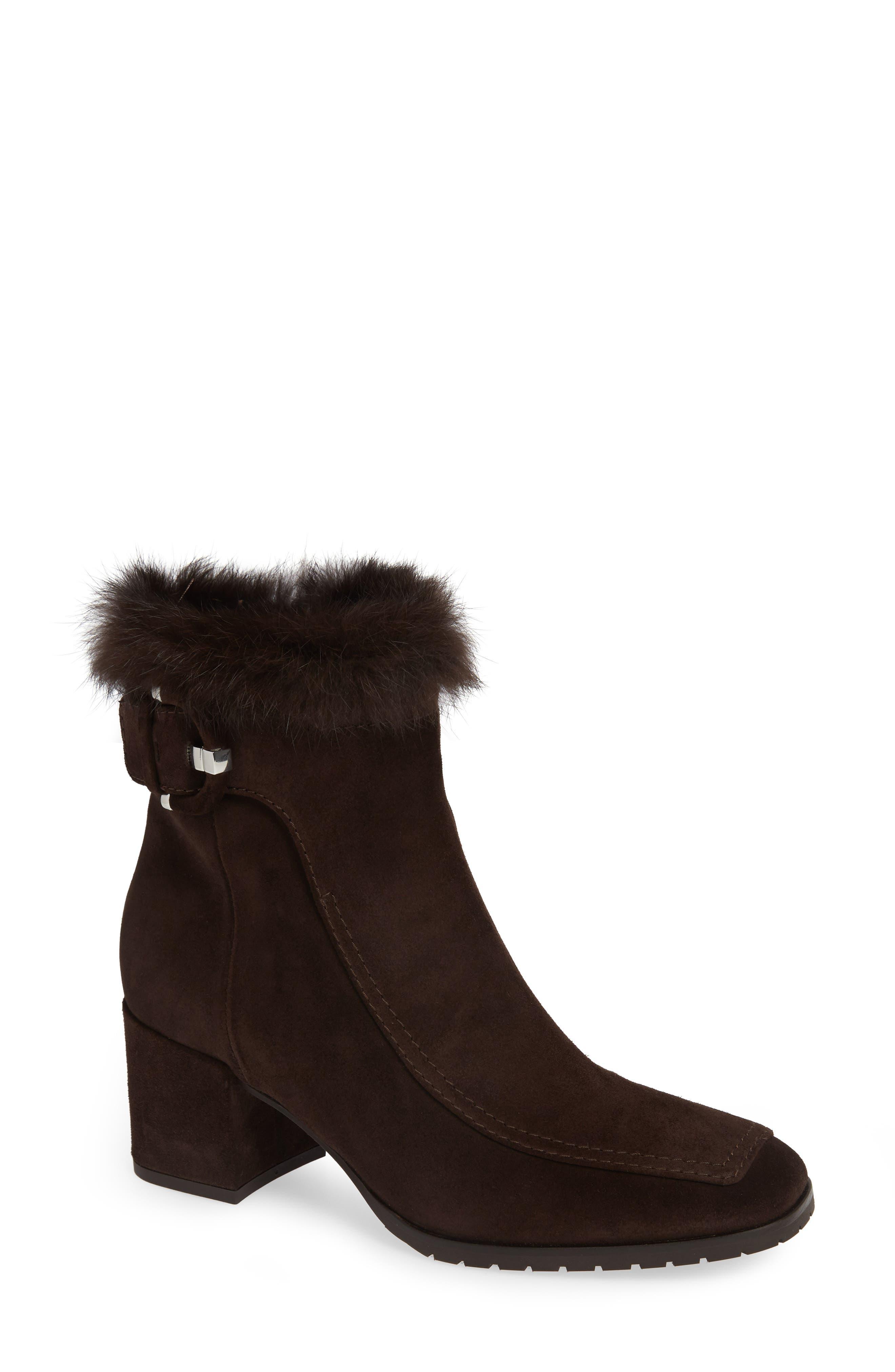 Aquatalia Water Resistant Genuine Rabbit Fur Trim Block Heel Bootie- Brown