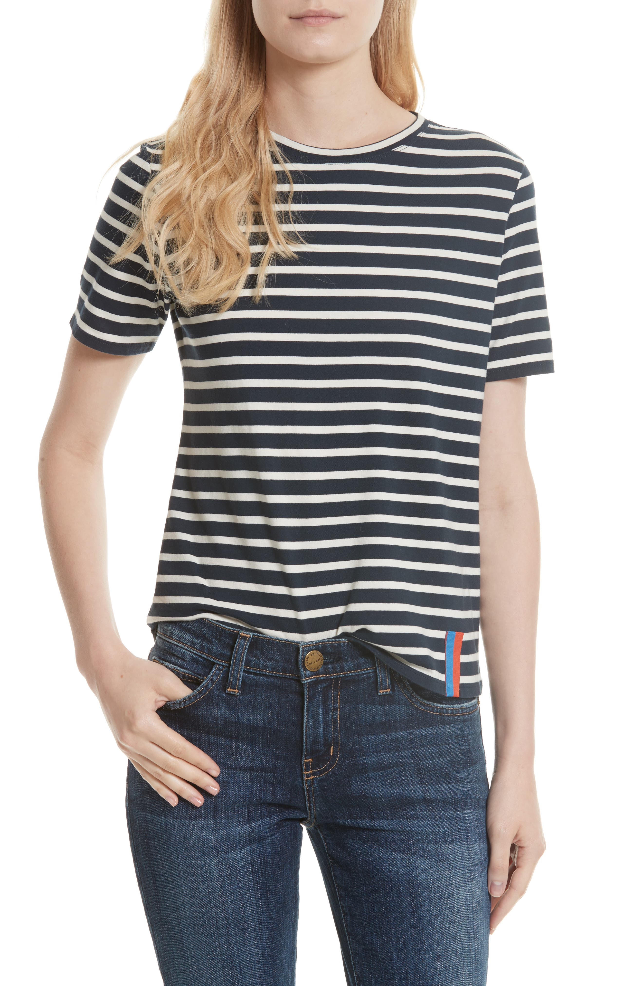 The Modern Stripe Cotton Tee,                         Main,                         color, NAVY/ CREAM