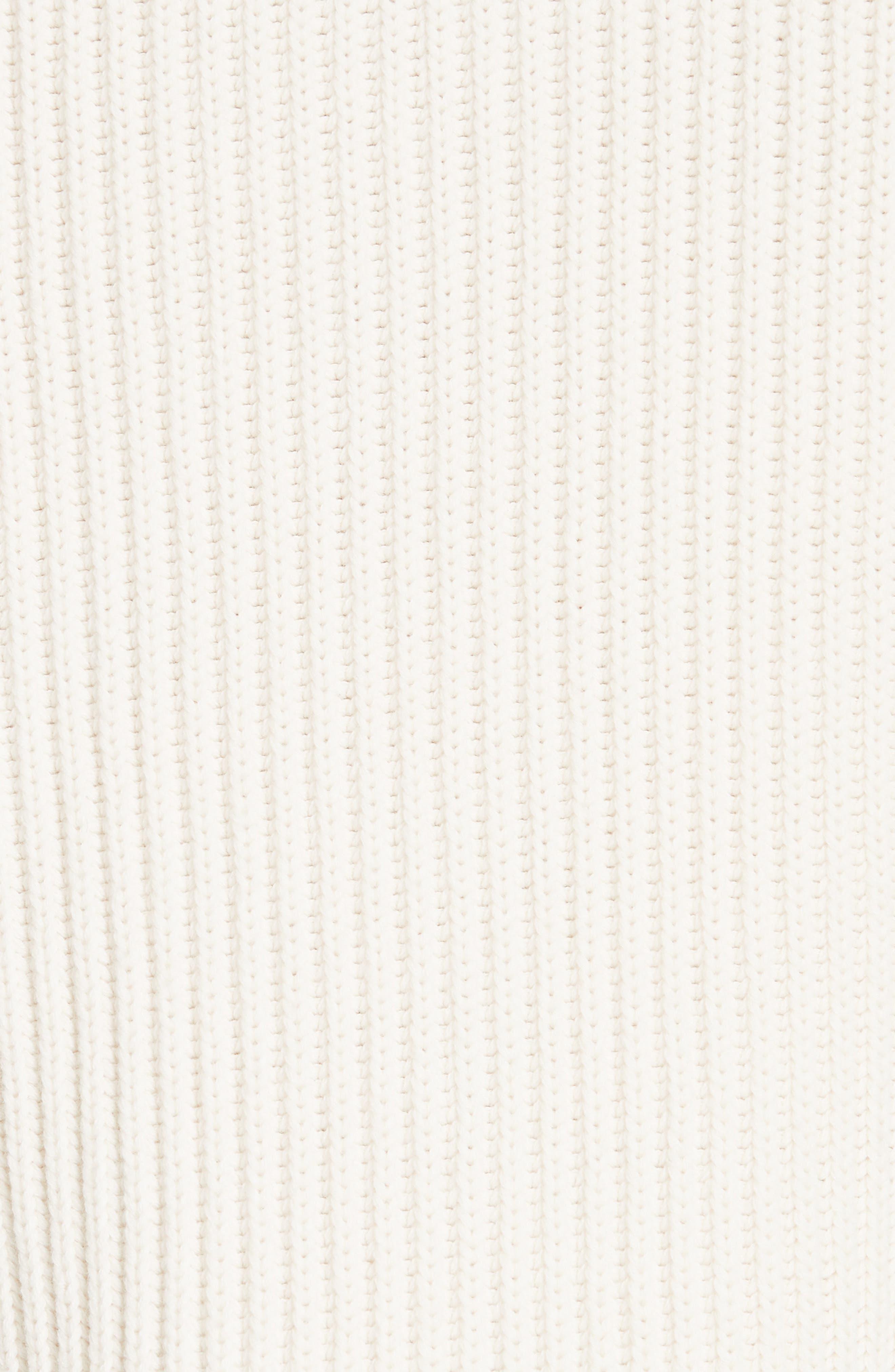 Crochet Cuff Wool & Cotton Sweater,                             Alternate thumbnail 5, color,                             BUTTER