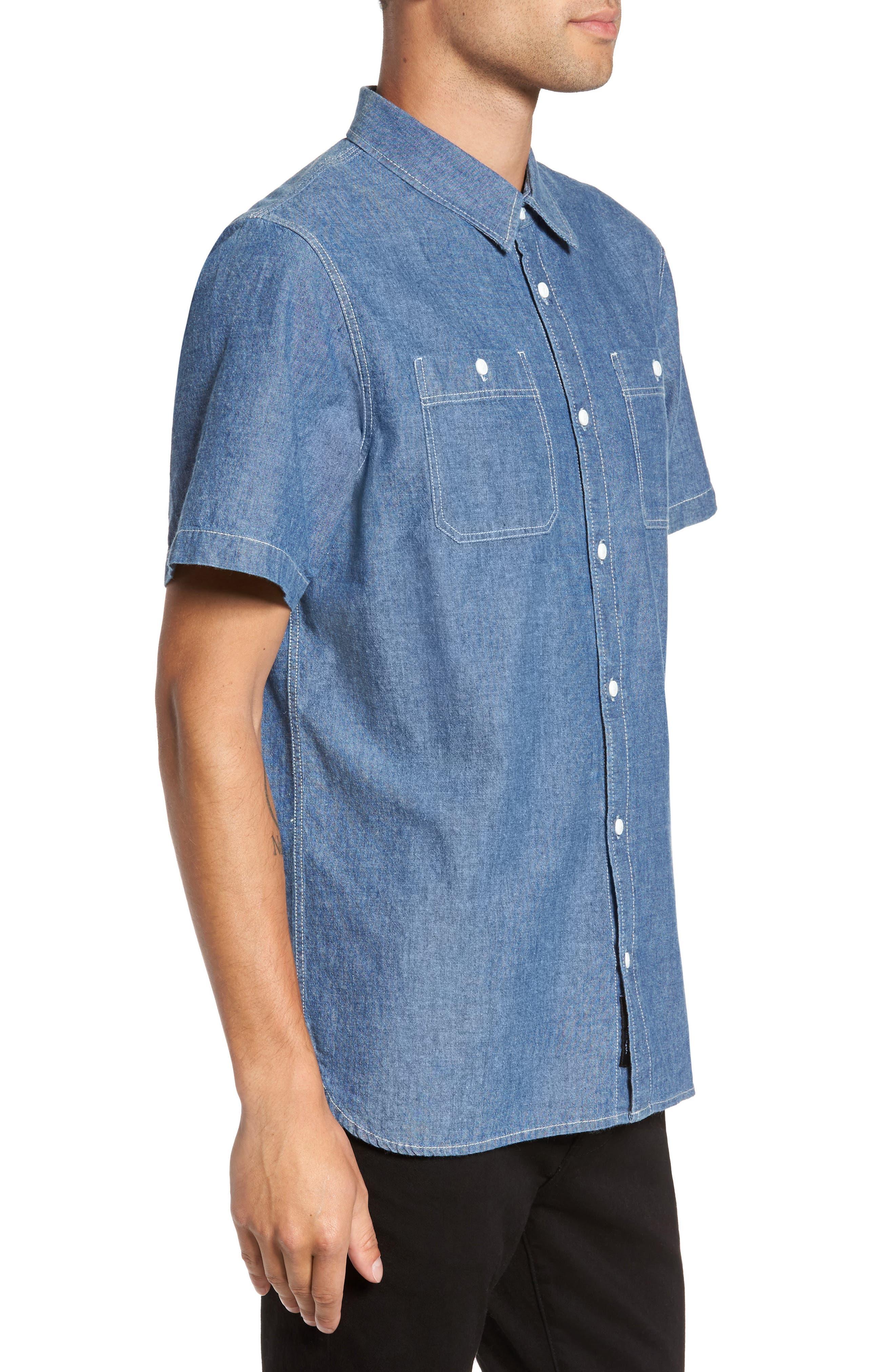 Carlow Chambray Woven Shirt,                             Alternate thumbnail 3, color,