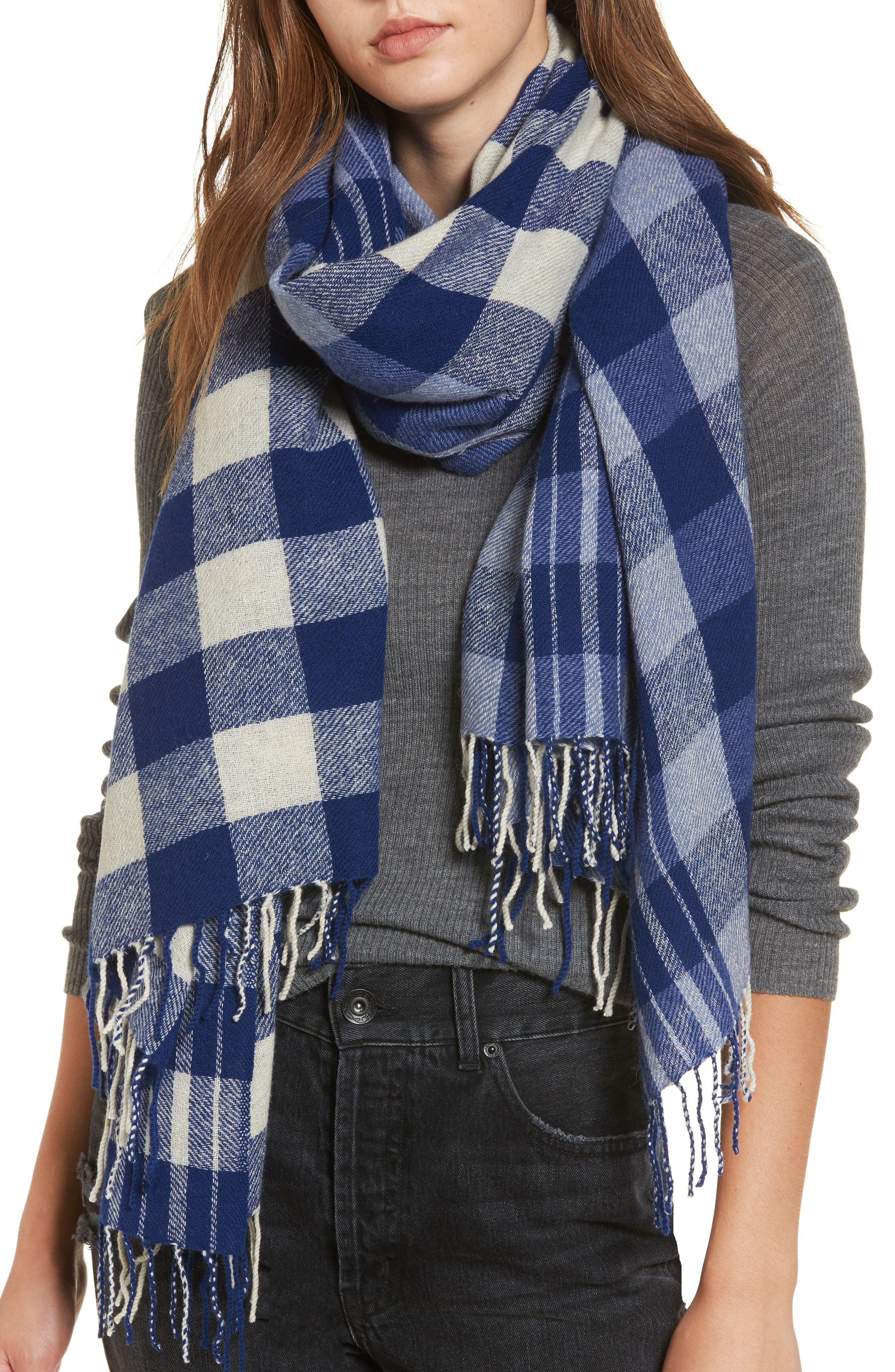 Checked Wool & Cashmere Scarf,                             Main thumbnail 1, color,