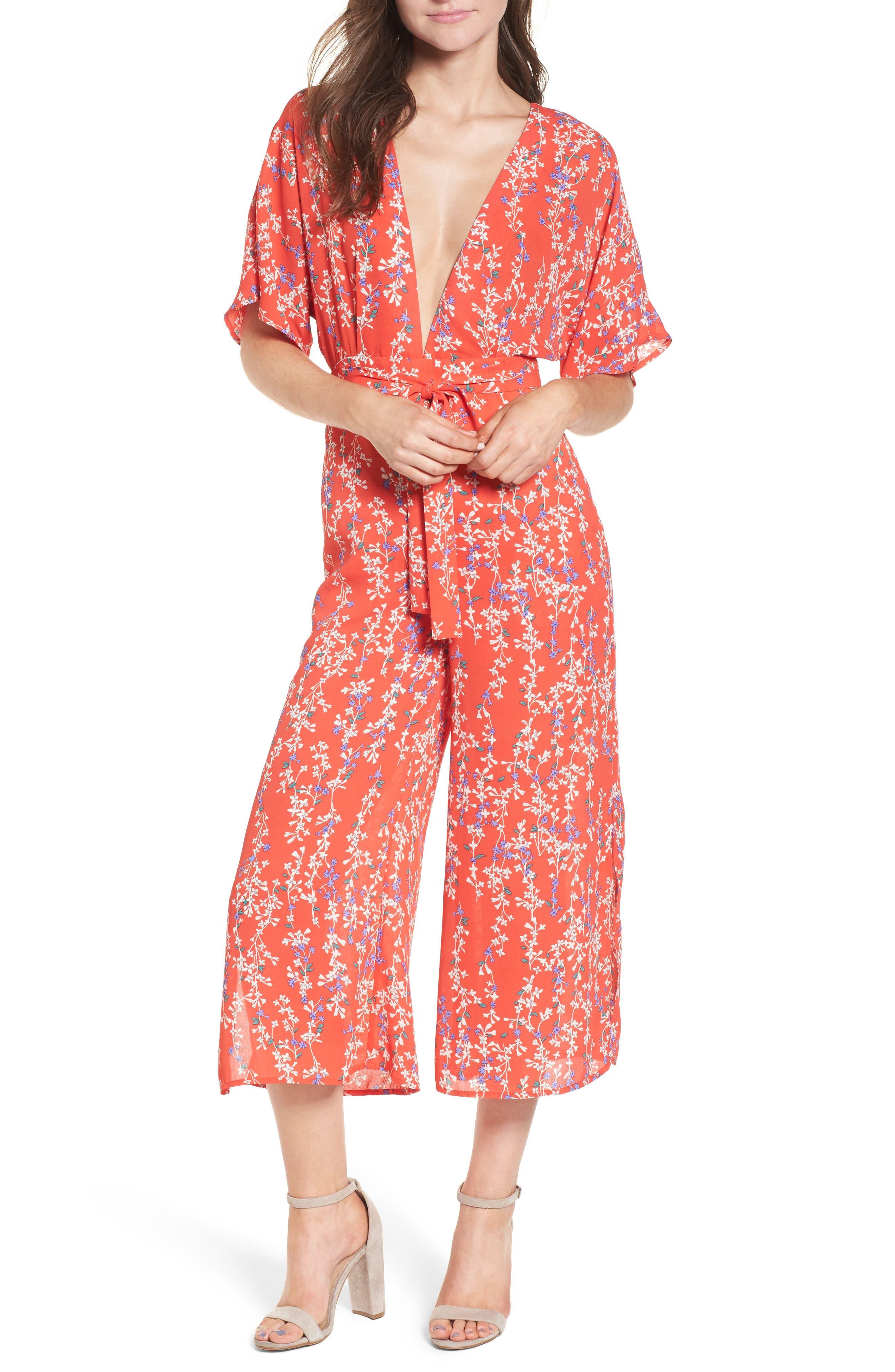 Floral Open Back Jumpsuit,                             Main thumbnail 1, color,                             RED MULTI