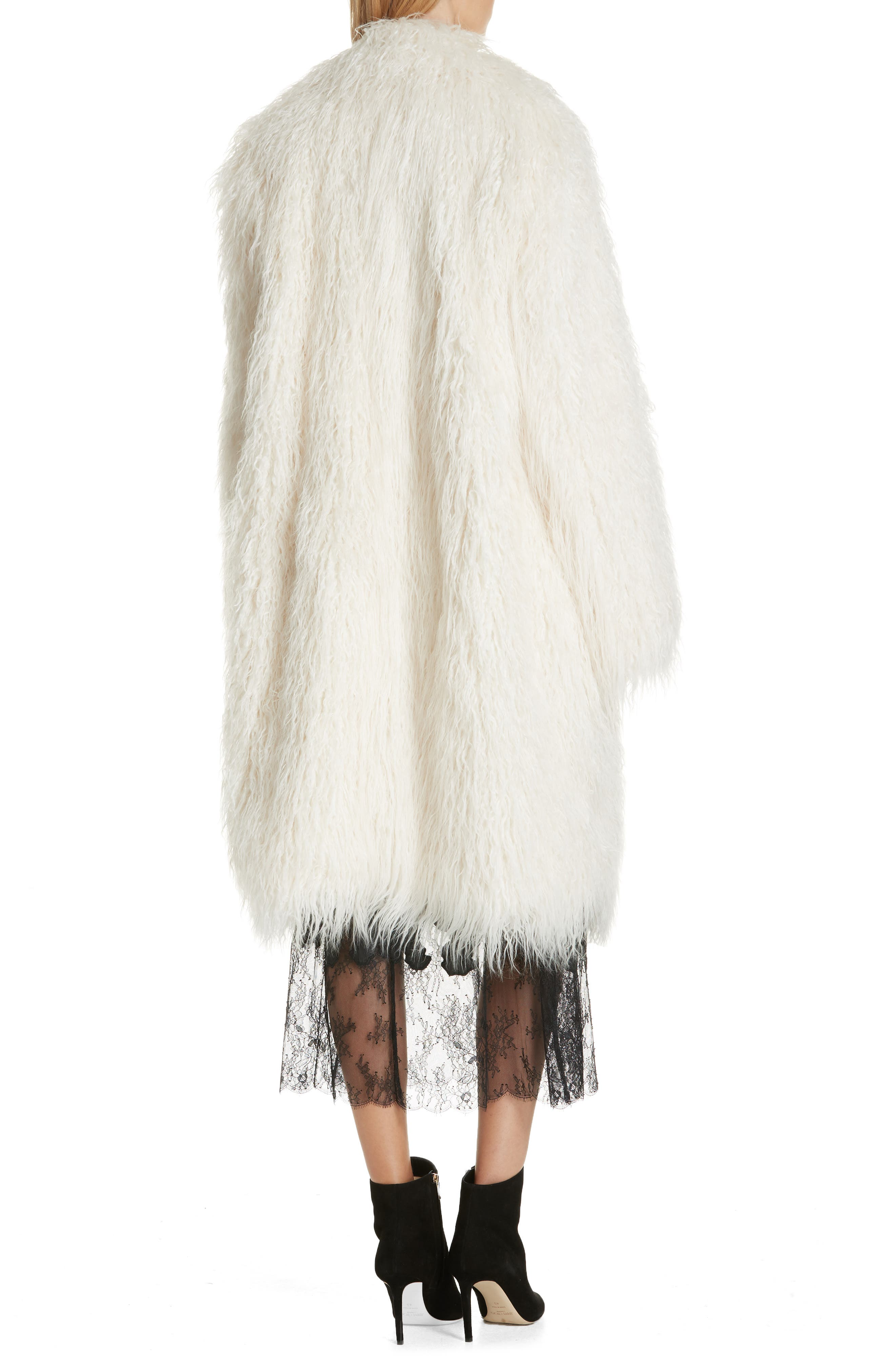 Mongolian Faux Fur Coat,                             Alternate thumbnail 2, color,                             IVORY