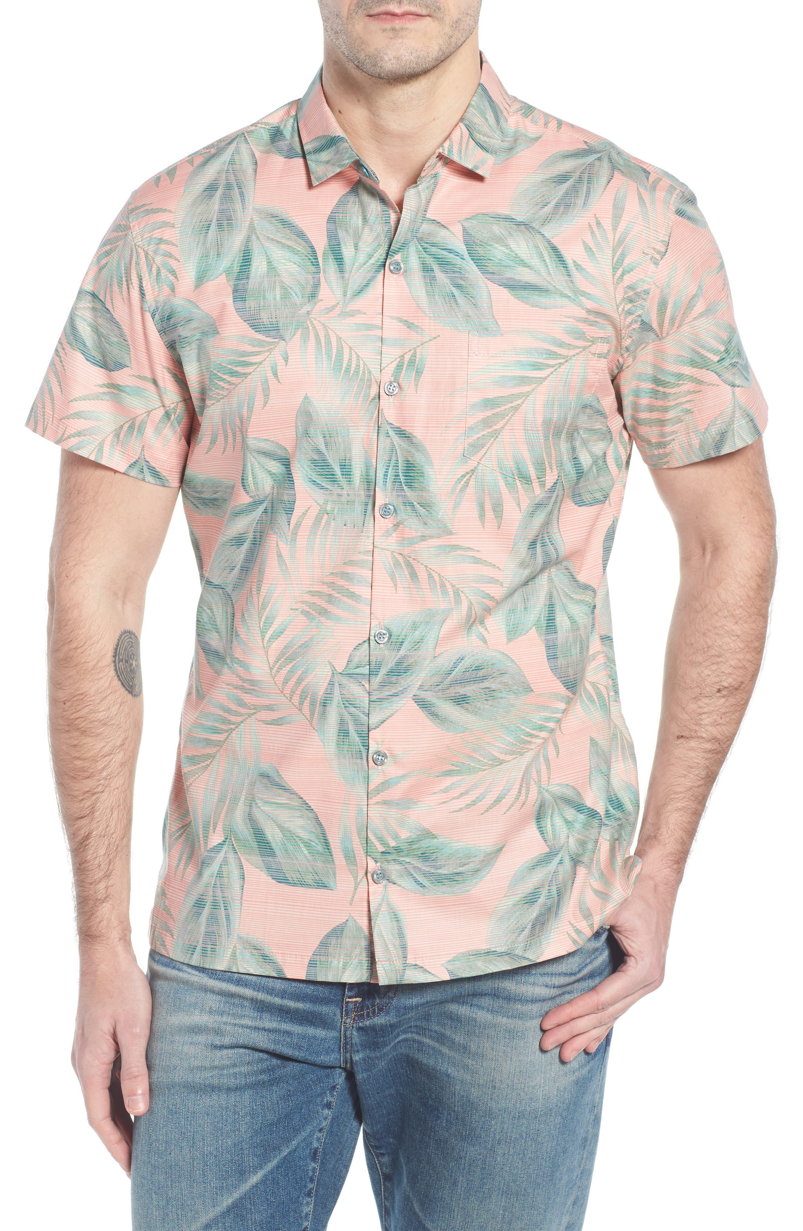 Shade Plant Trim Fit Camp Shirt,                         Main,                         color, BISQUE