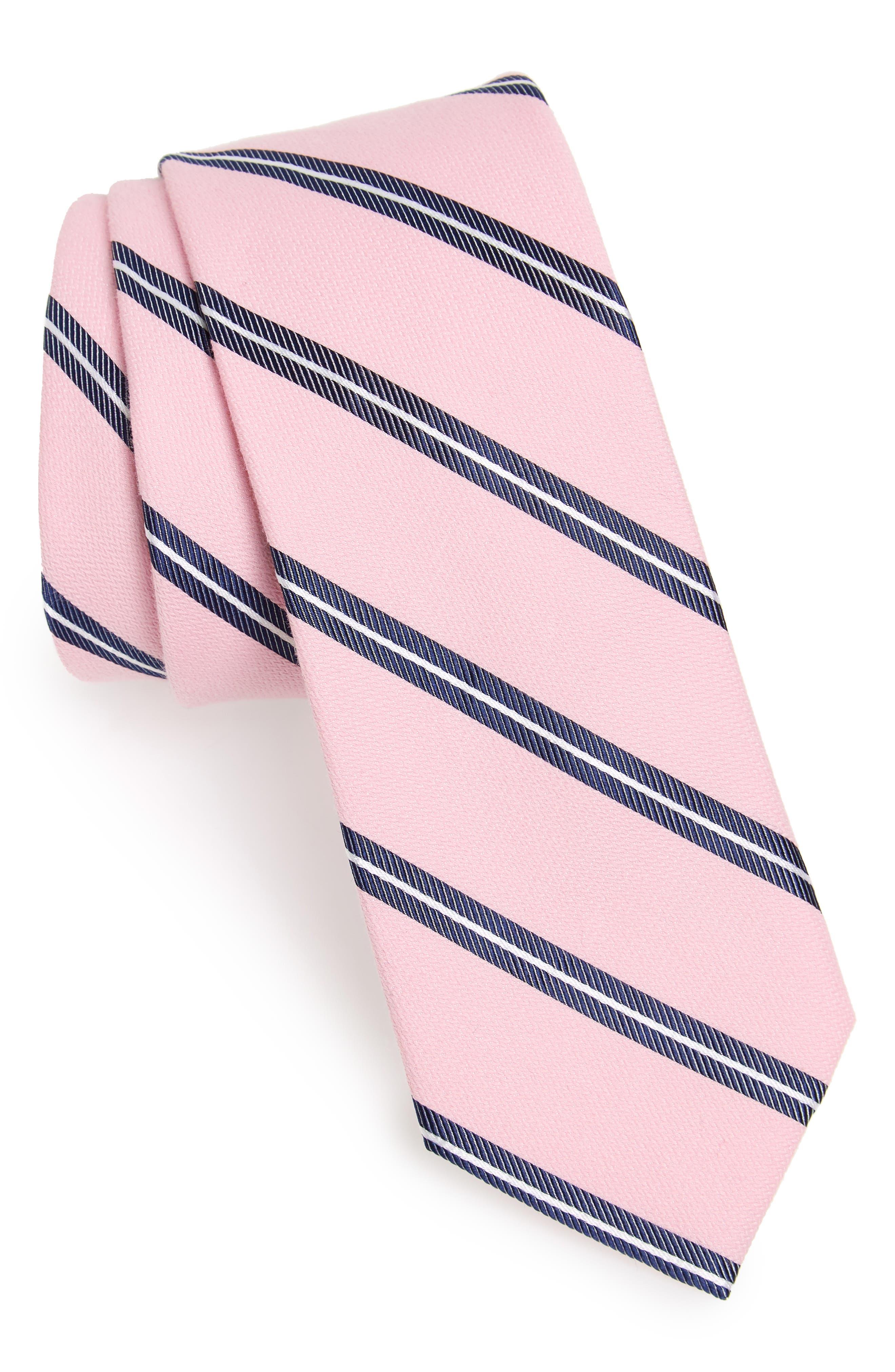 Edinger Stripe Silk & Cotton Tie,                             Main thumbnail 6, color,