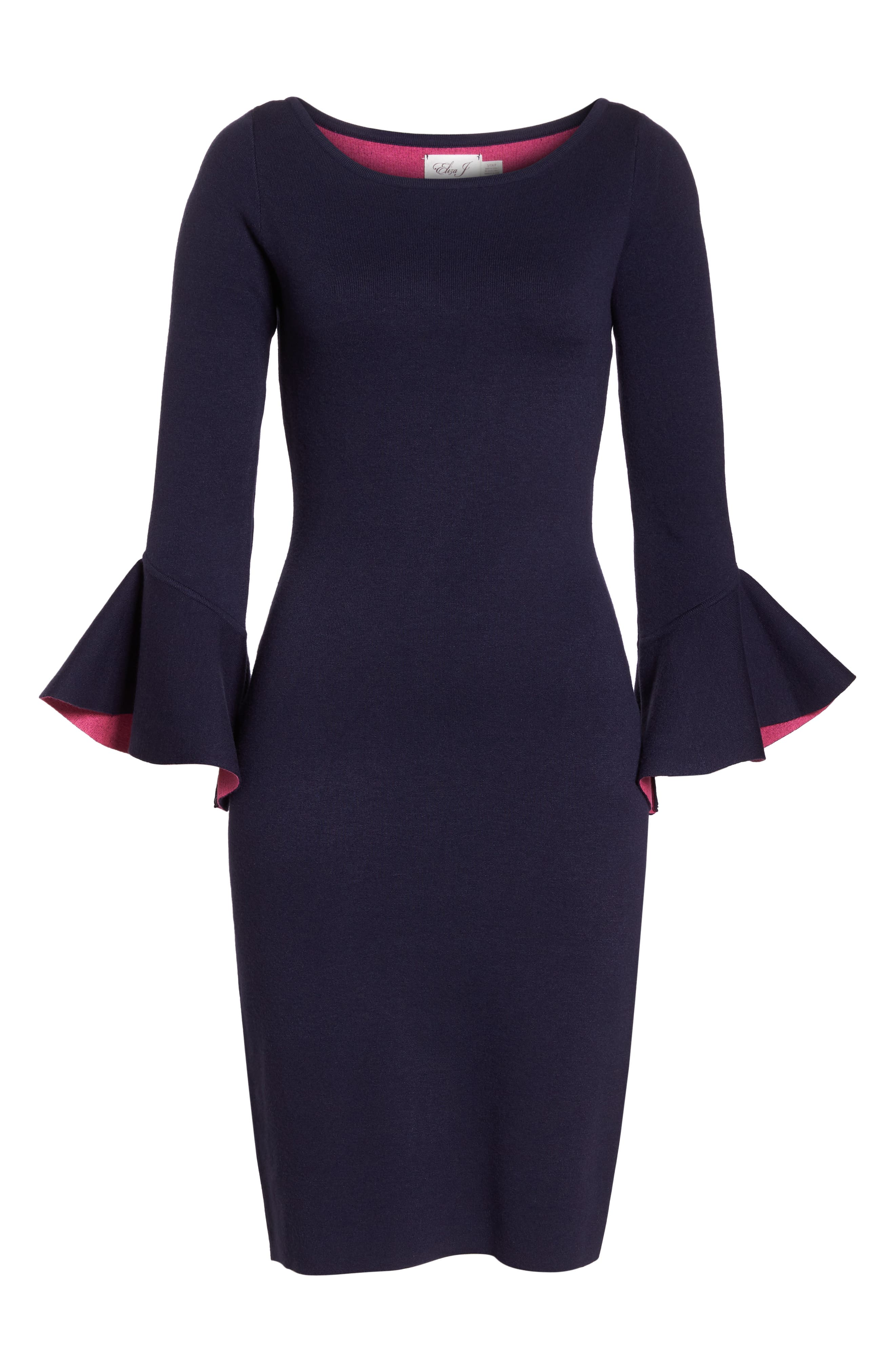 Bell Sleeve Midi Sweater Dress,                             Alternate thumbnail 7, color,                             NAVY