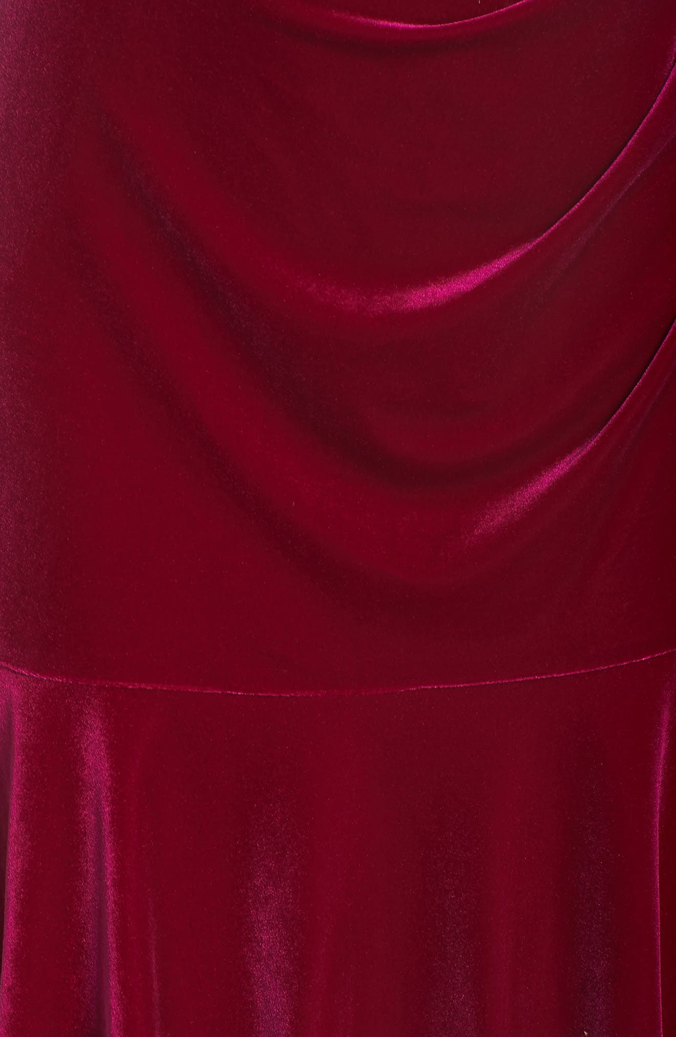 Draped Velvet Sheath Dress,                             Alternate thumbnail 6, color,                             FUCHSIA
