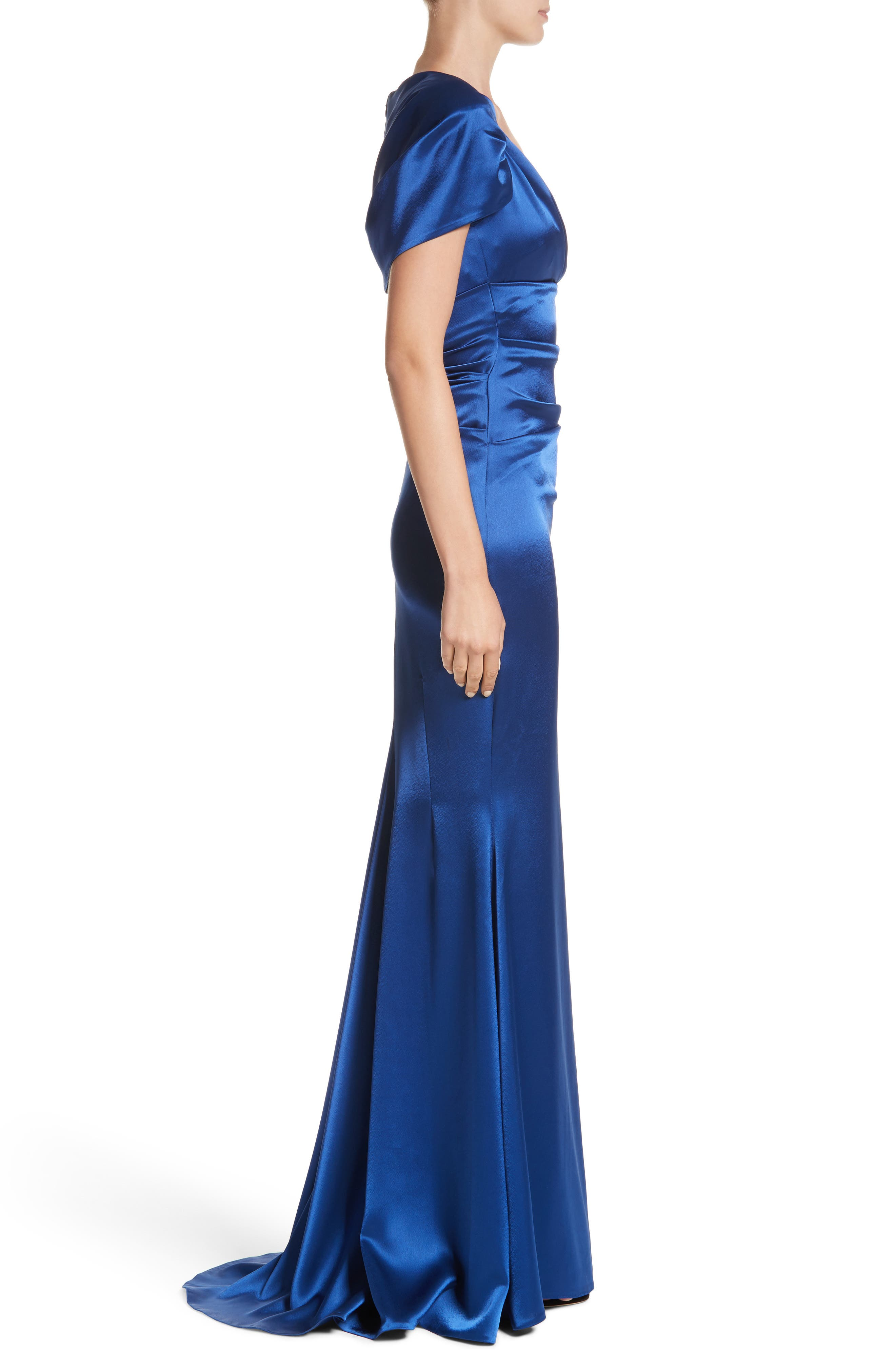 Pleated Satin Mermaid Gown,                             Alternate thumbnail 3, color,                             ENZIAN/ ROYAL
