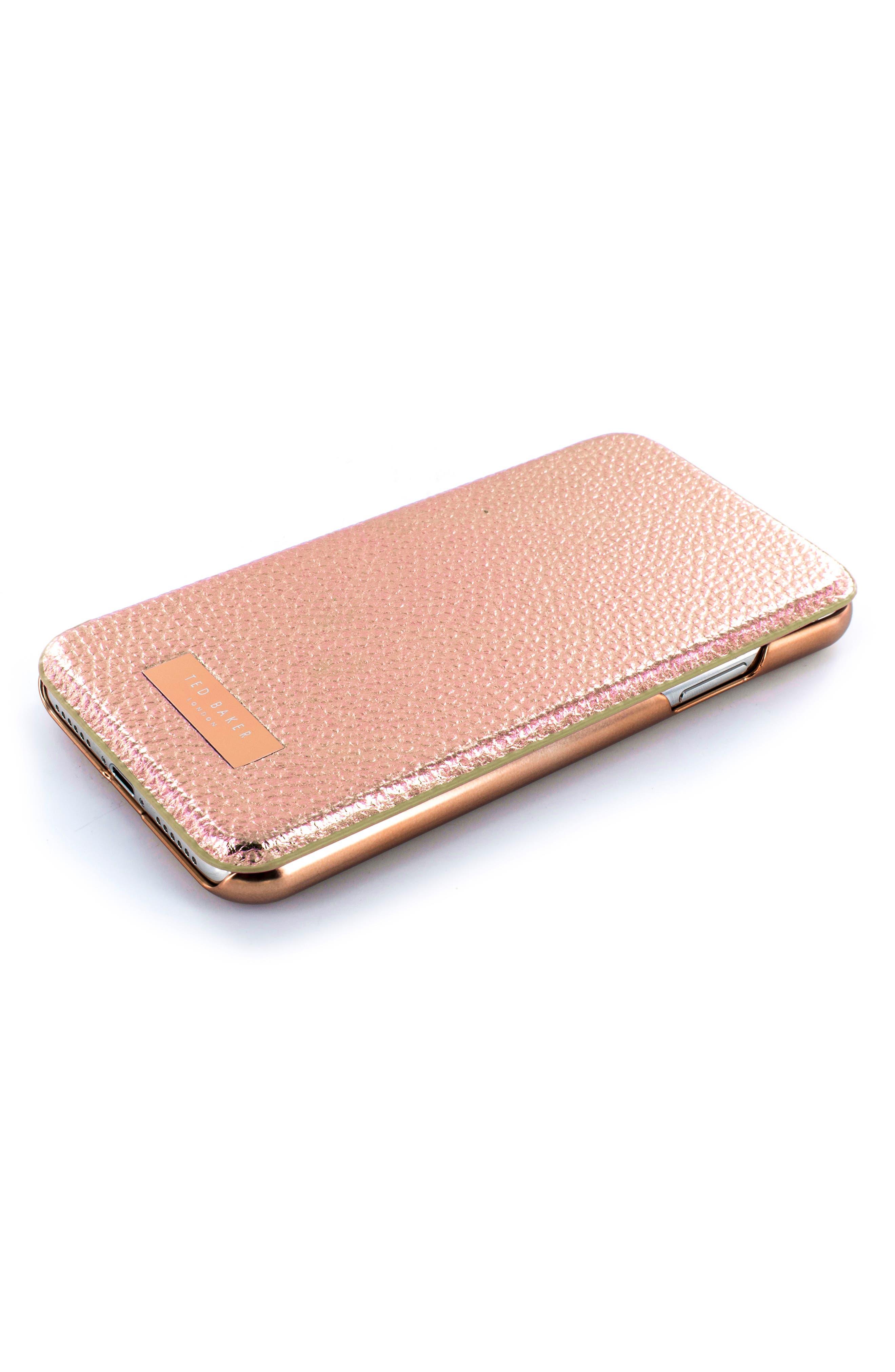 Fenela Faux Leather iPhone X & Xs Mirror Folio Case,                             Alternate thumbnail 4, color,                             ROSE GOLD