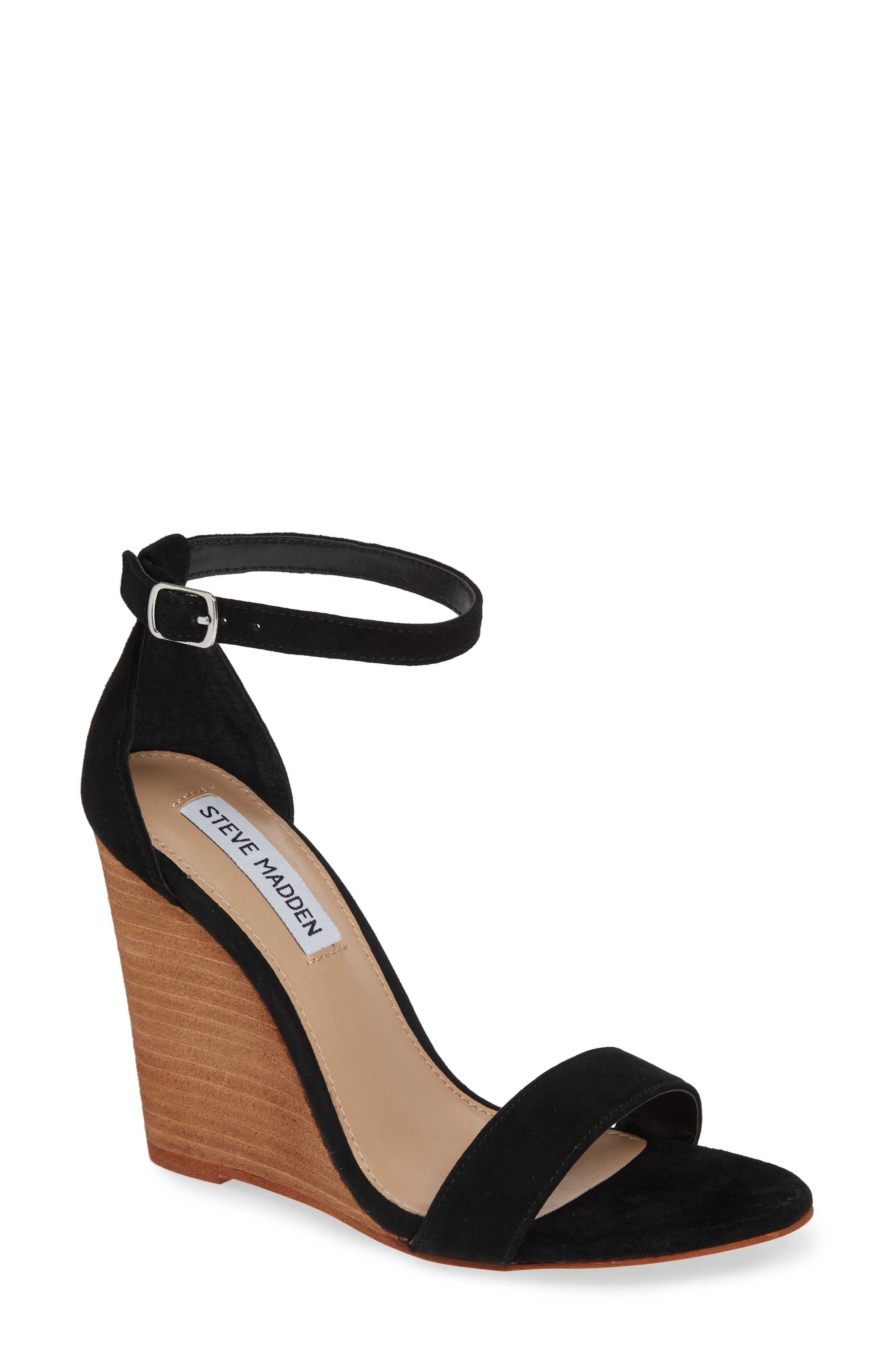 Mary Ankle Strap Wedge,                             Main thumbnail 1, color,                             BLACK SUEDE