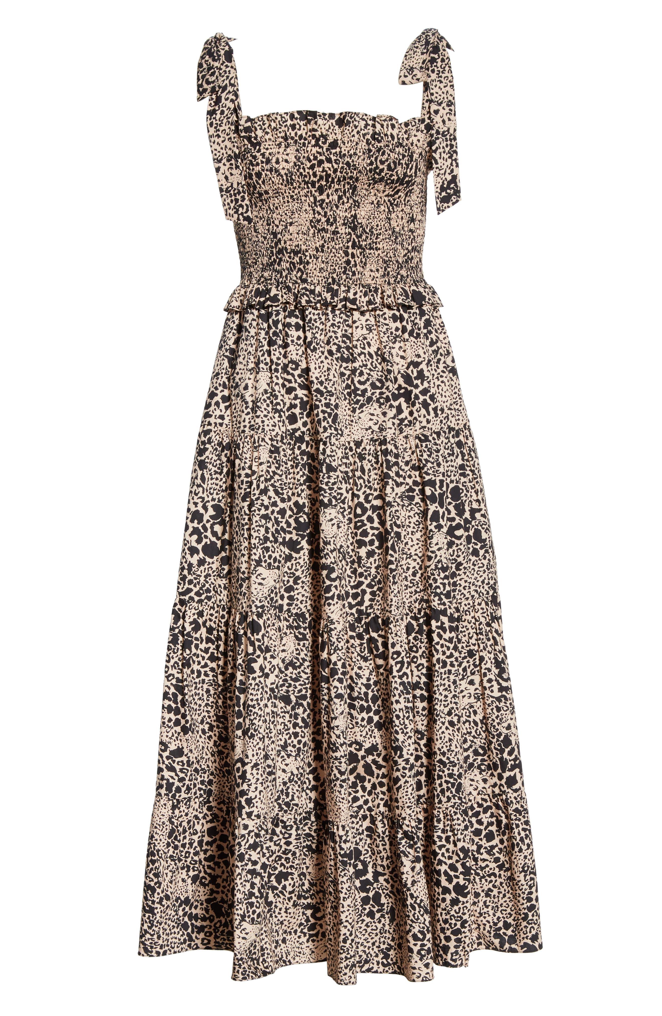 Leopard Print Smocked Dress,                             Alternate thumbnail 7, color,                             CHAMPAGNE COMBO