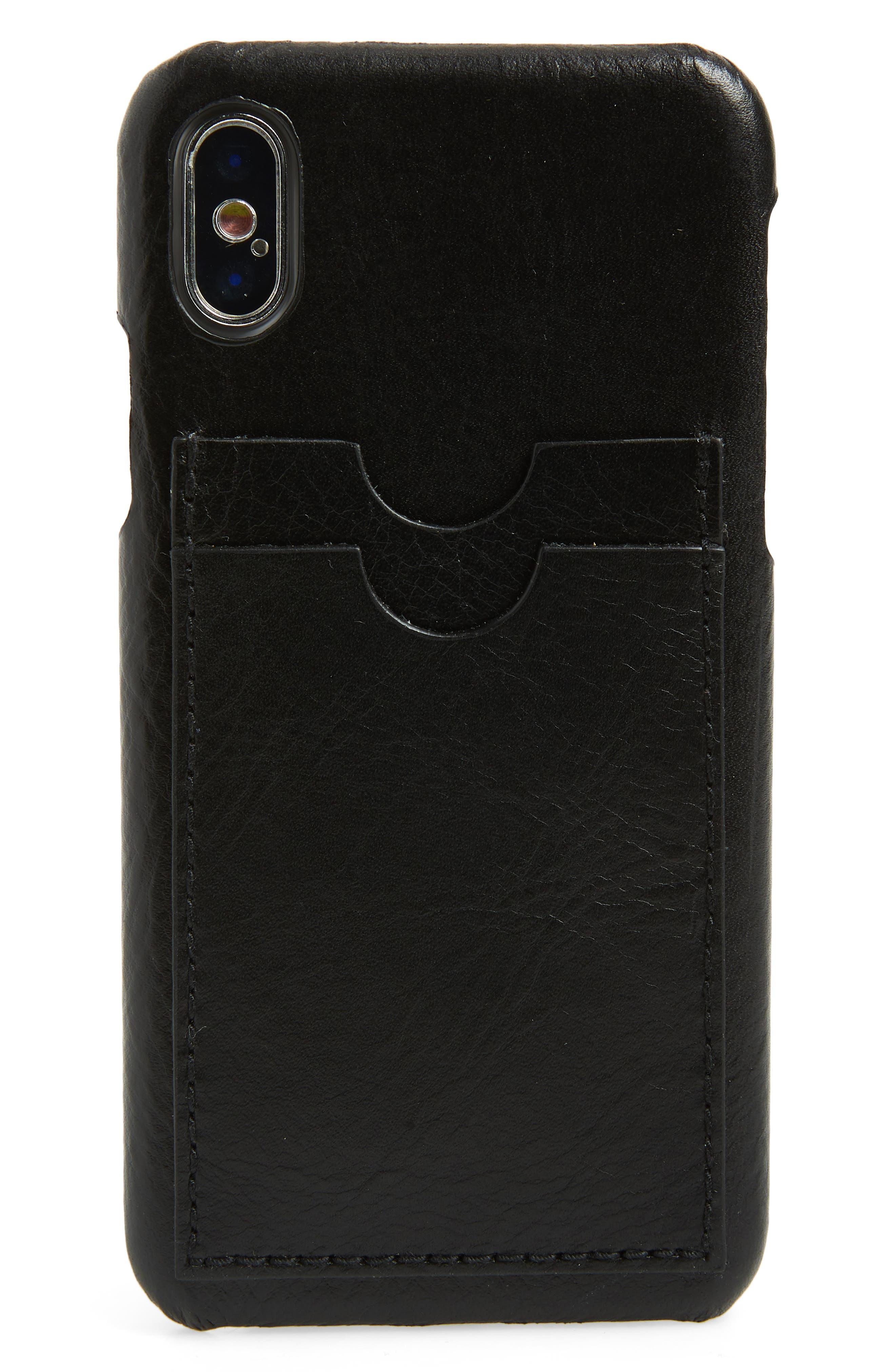 Card Slot Leather iPhone X & Xs Case,                             Main thumbnail 1, color,                             TRUE BLACK