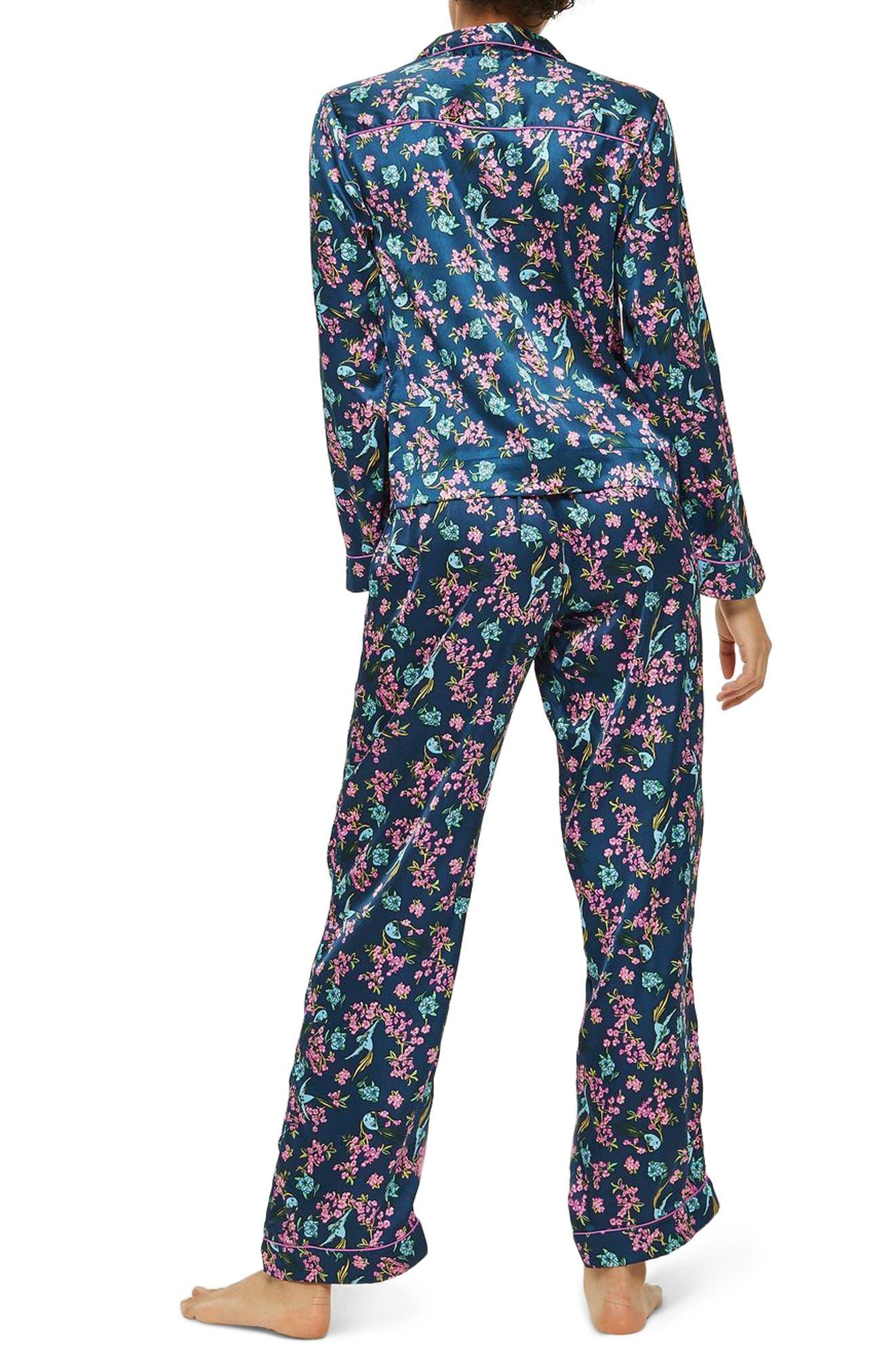 Bird Satin Pajamas,                             Alternate thumbnail 2, color,
