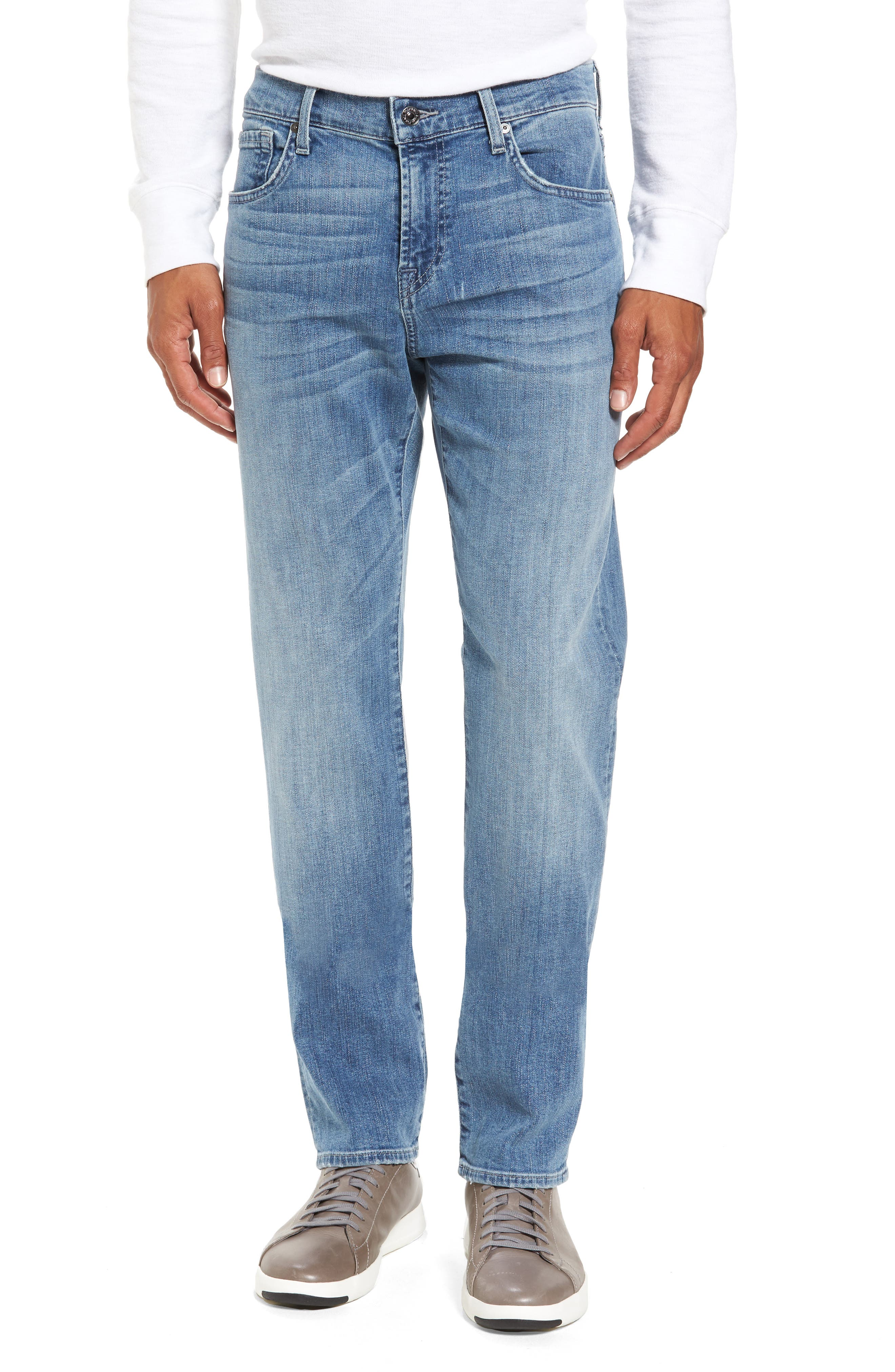 7 For All Mankind Slim Straight Leg Jeans,                             Main thumbnail 1, color,                             400