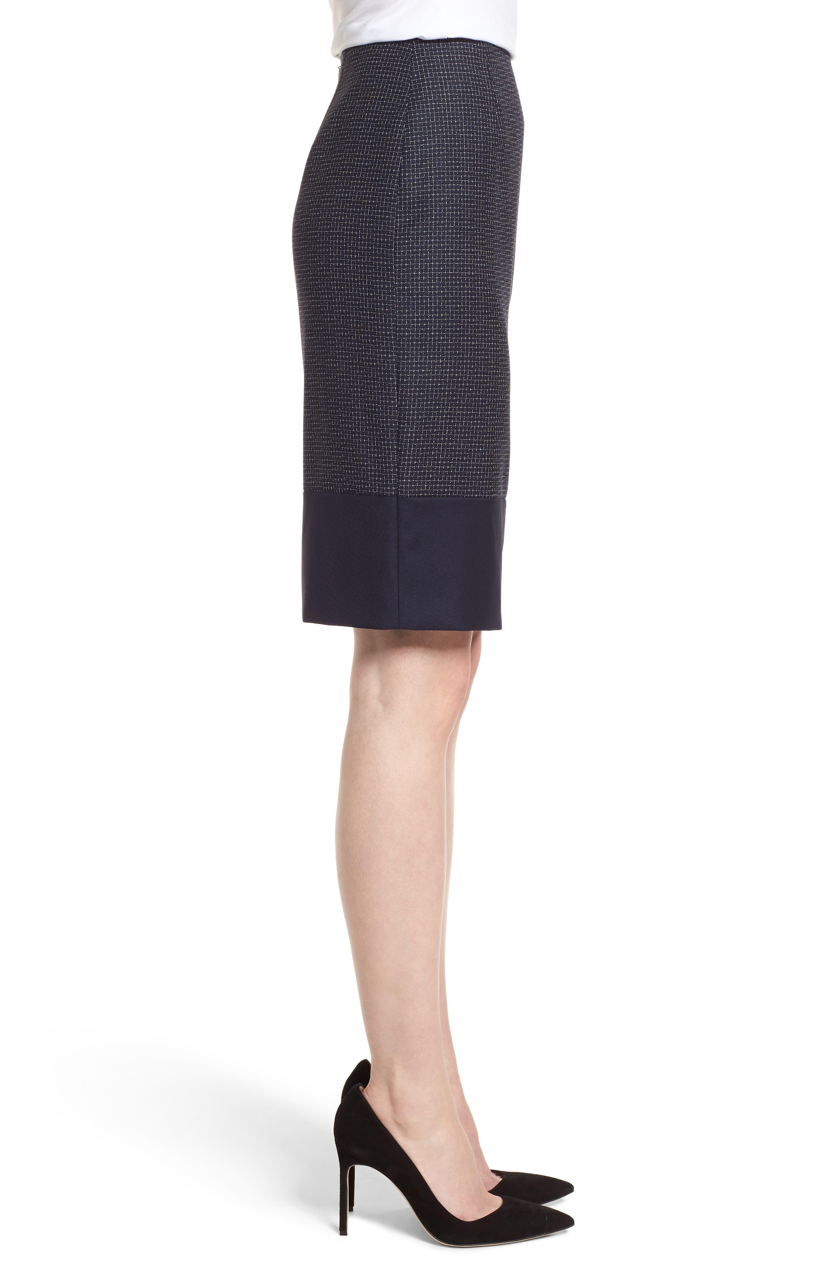 BOSS,                             Vibena Windowpane Skirt,                             Alternate thumbnail 3, color,                             170