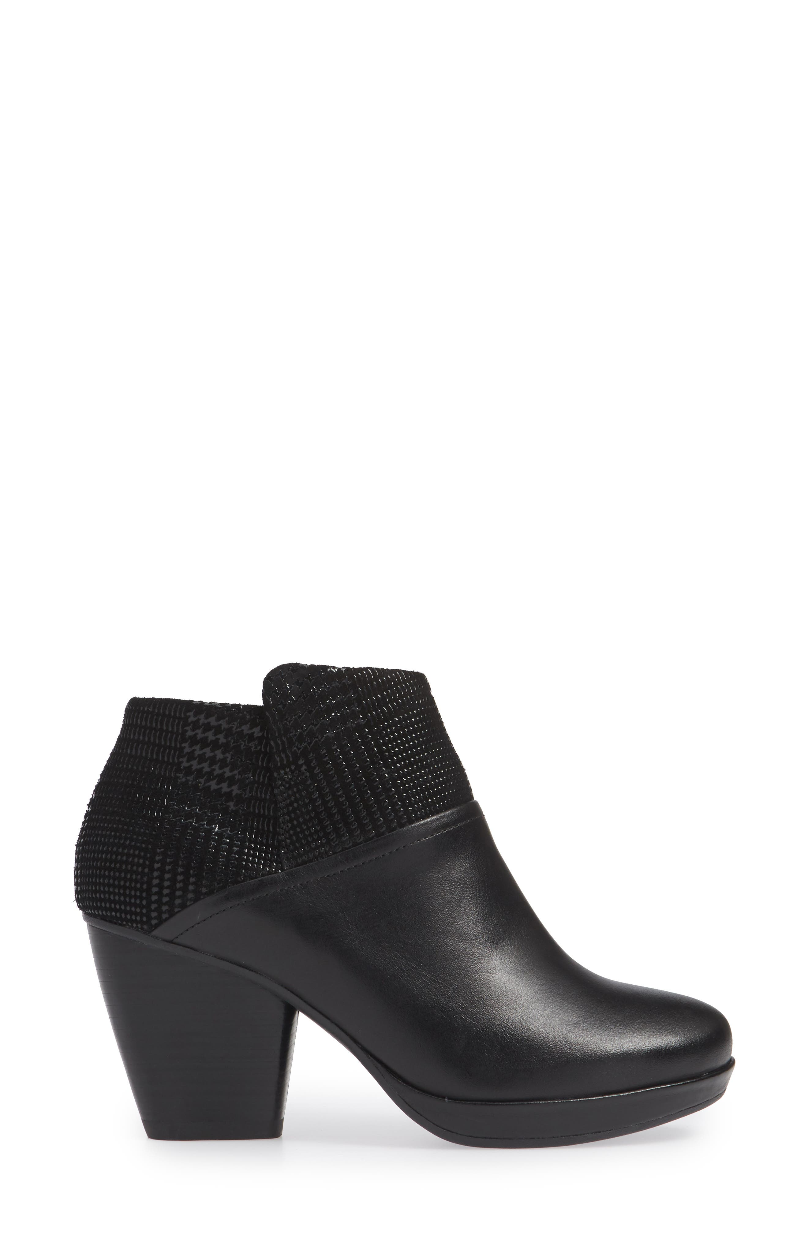 Miley Burnished Leather Bootie,                             Alternate thumbnail 3, color,                             BLACK BURNISHED LEATHER