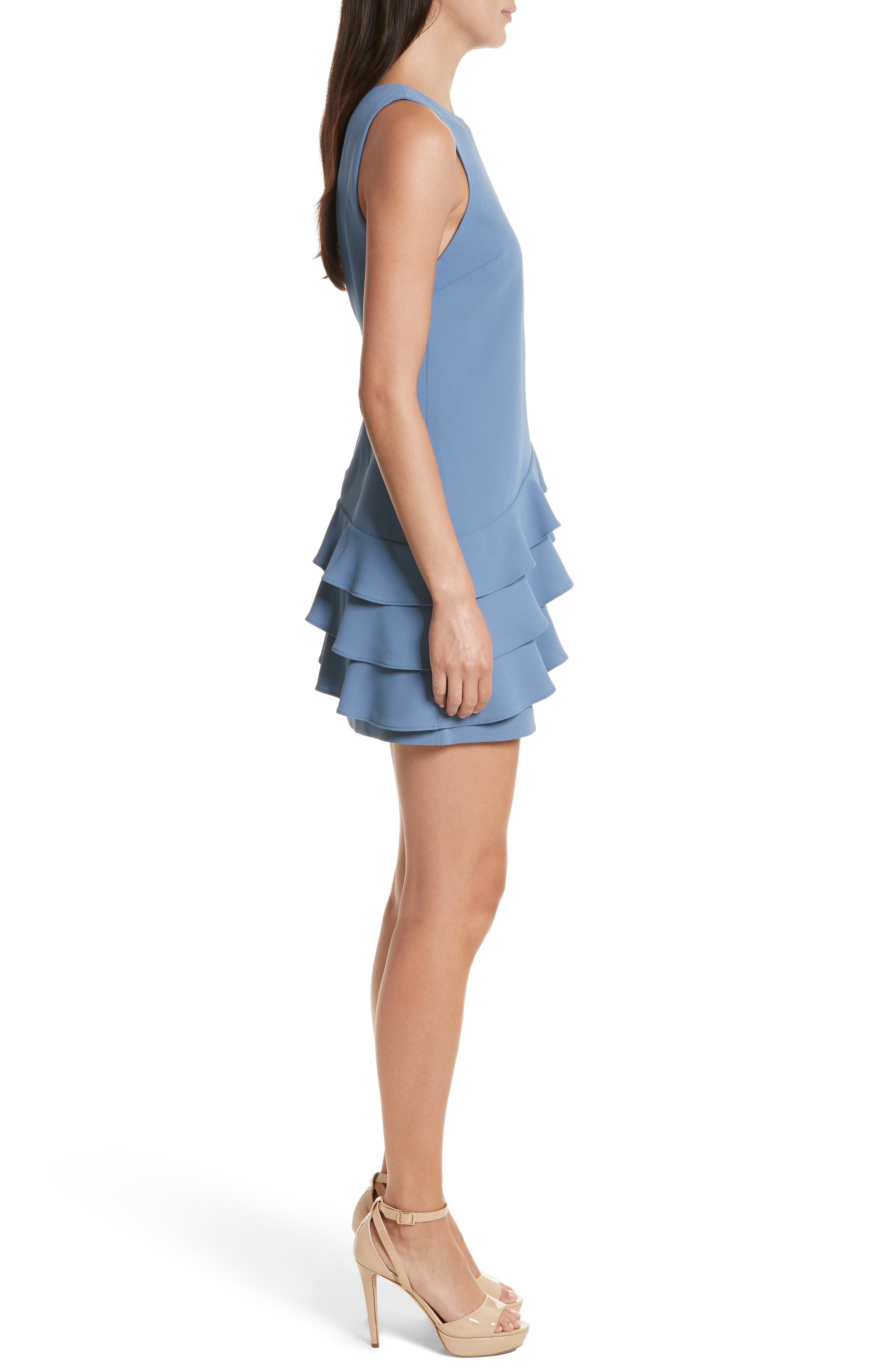 Clive Asymmetrical Ruffle A-Line Dress,                             Alternate thumbnail 3, color,                             402